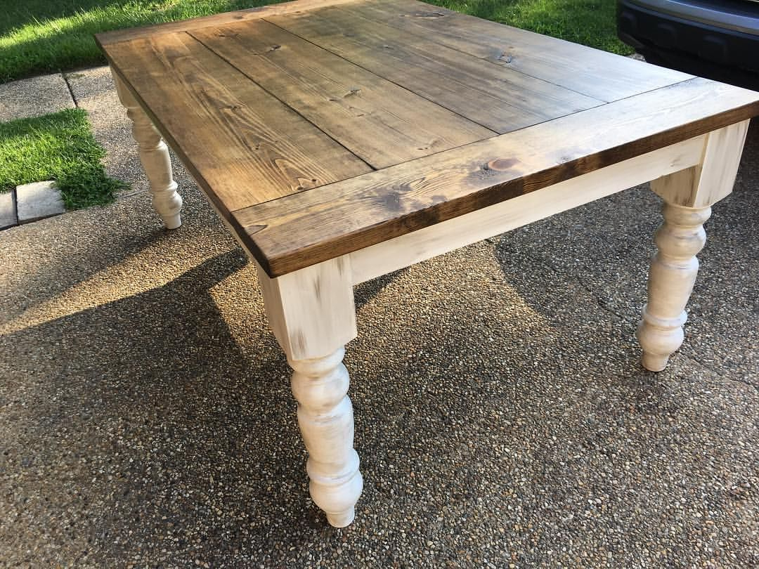 Distressed Walnut And Black Finish Wood Modern Country Dining Tables For 2017 Dining Table Finished Look Stain:special Walnut (Or Chestnut (View 6 of 30)