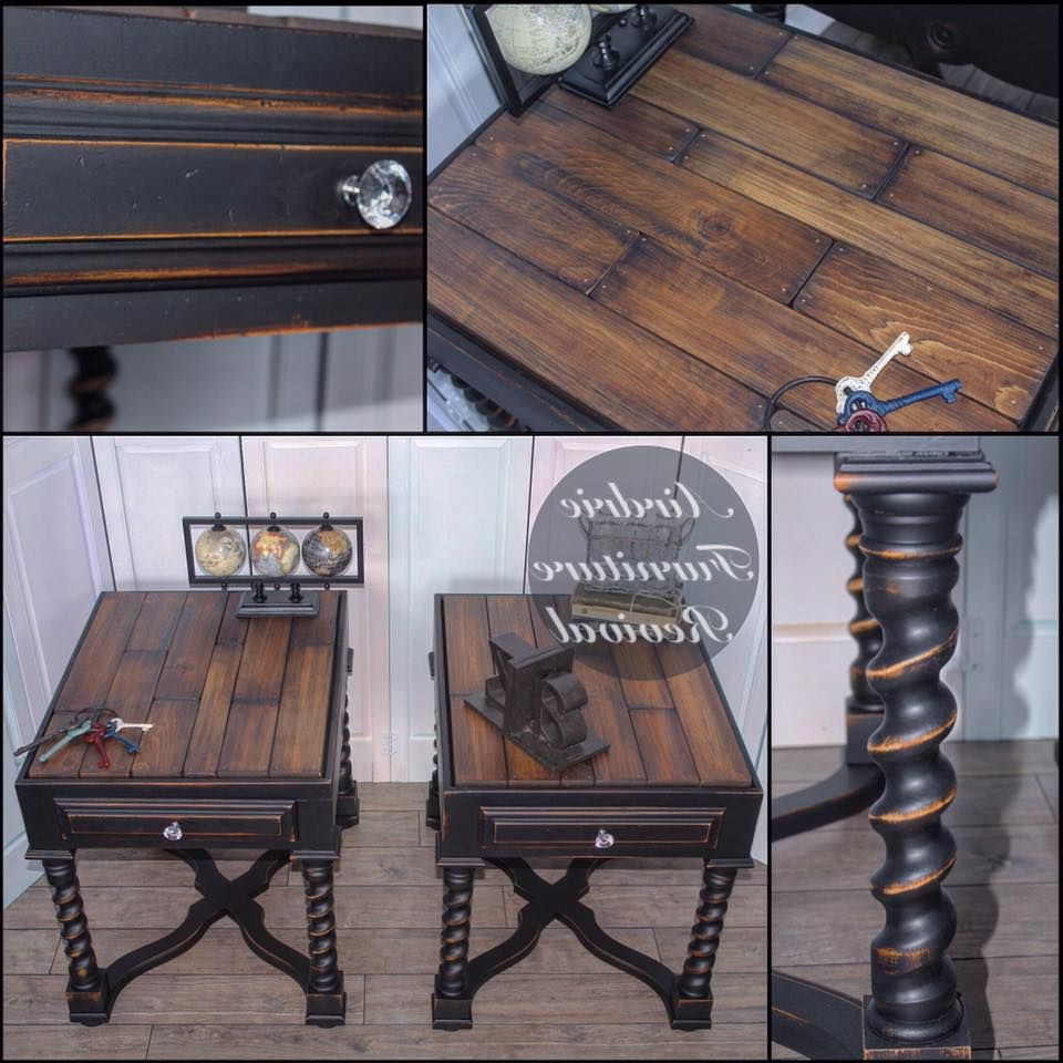Distressed Walnut And Black Finish Wood Modern Country Dining Tables Pertaining To Trendy Antique Walnut End Tables With Class Black (View 9 of 30)