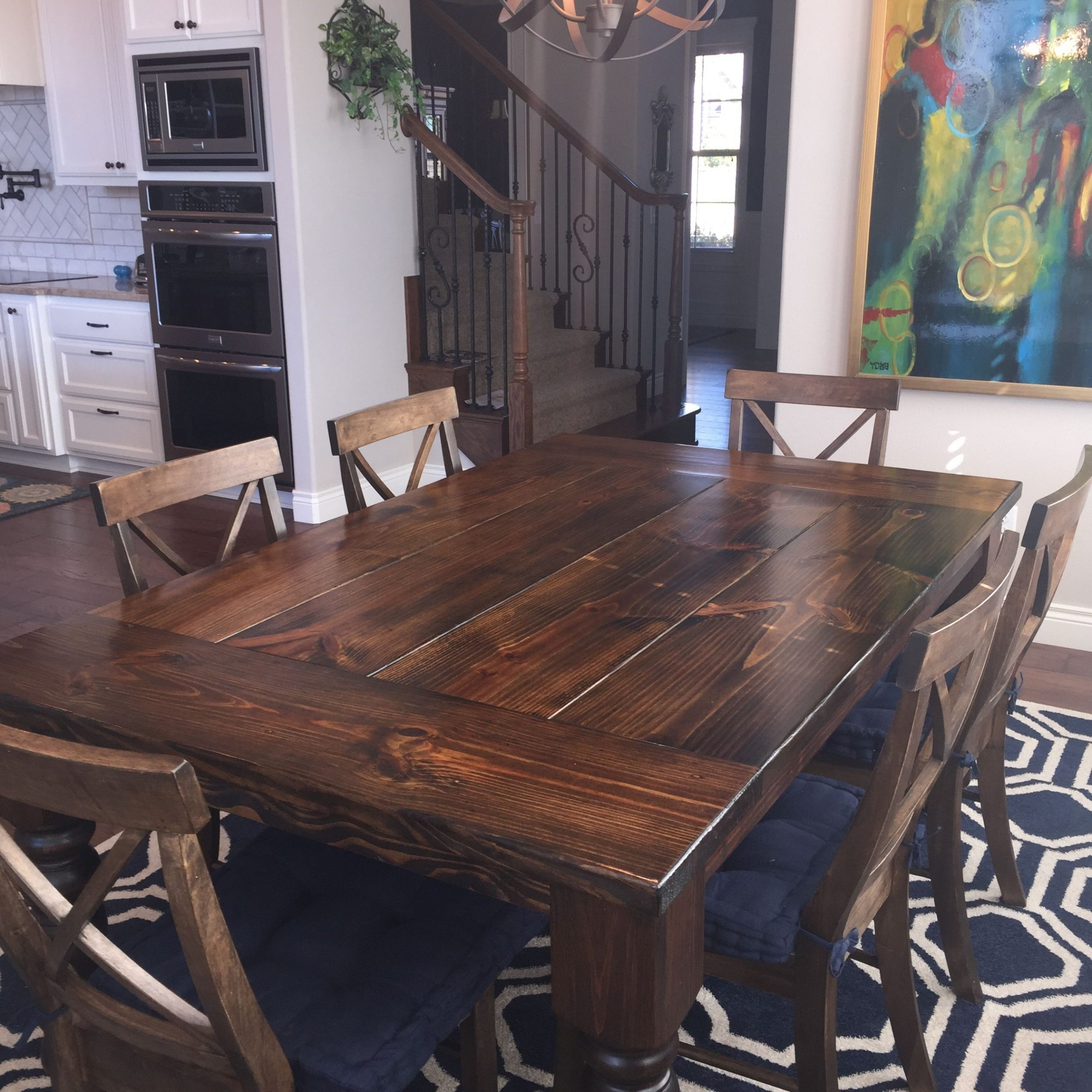 Distressed Walnut And Black Finish Wood Modern Country Dining Tables With Fashionable Baluster Turned Leg Table (View 11 of 30)