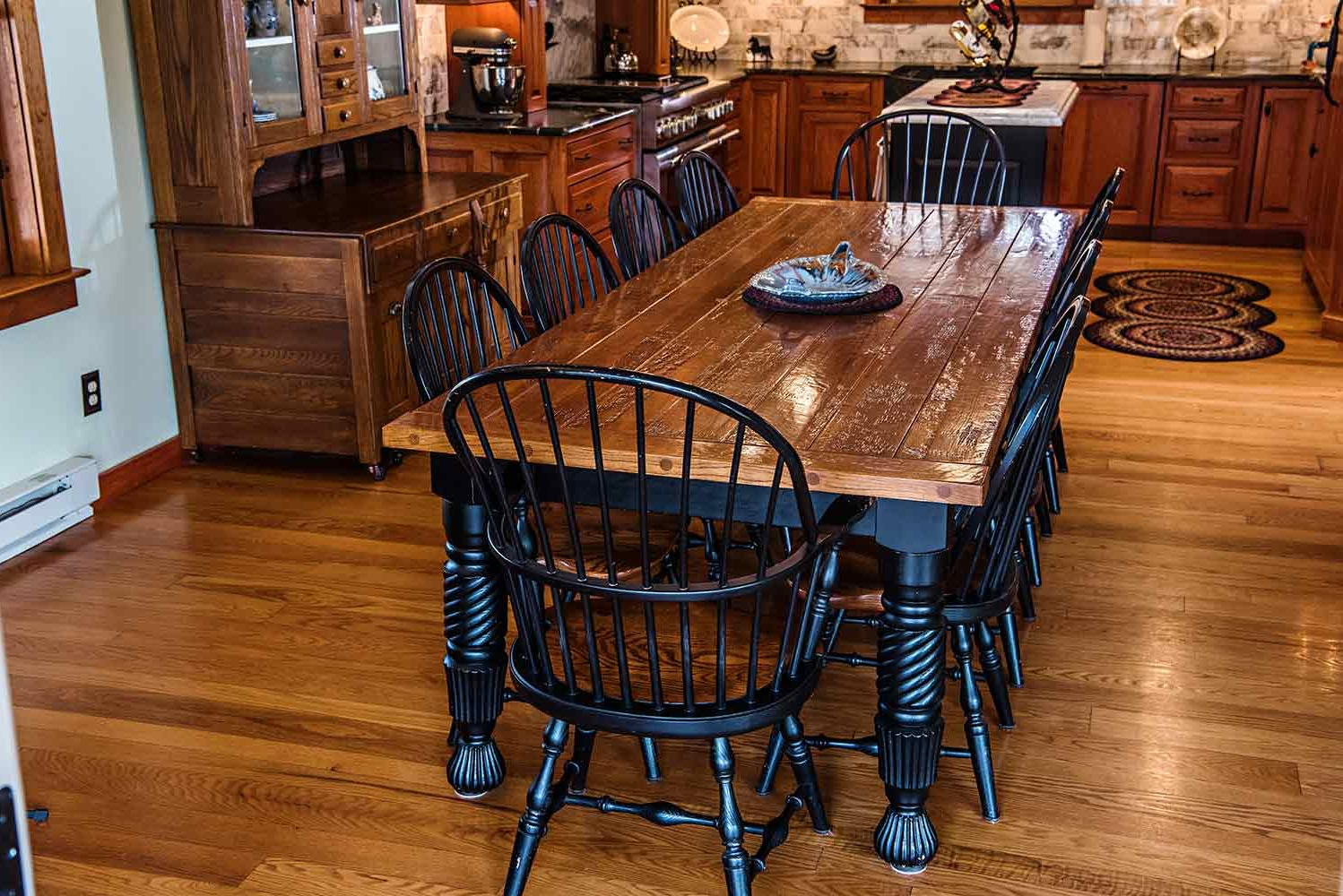 Distressed Walnut And Black Finish Wood Modern Country Dining Tables Within Best And Newest New England Quarter Sawn White Oak Farm Dining Table (View 12 of 30)