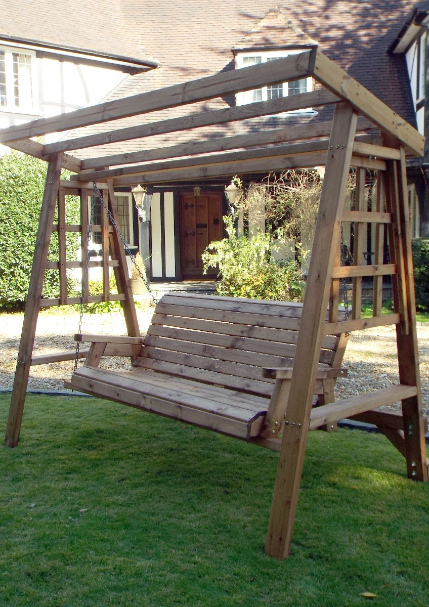 Dorset 3 Seat Swing (burgundy Roof Cover) For Latest 3 Seat Pergola Swings (View 29 of 30)