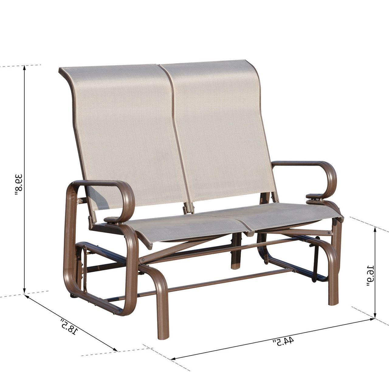 Double Glider Benches With Cushion Regarding 2020 Outdoor Aluminum Double Glider Rocking Bench Swing (View 26 of 30)