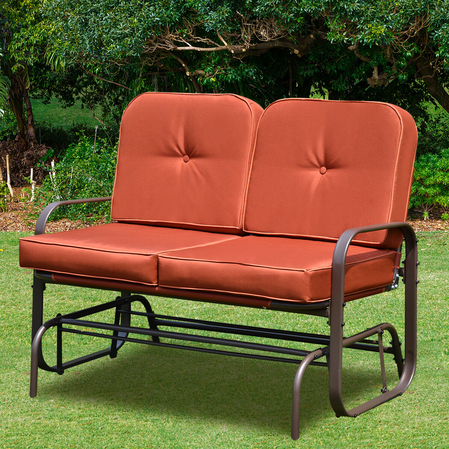 Double Glider Benches With Cushion Throughout Well Known Patio Glider Bench Chair 2 Person Rocker Loveseat Outdoor Furniture W/ Cushions (Gallery 15 of 30)