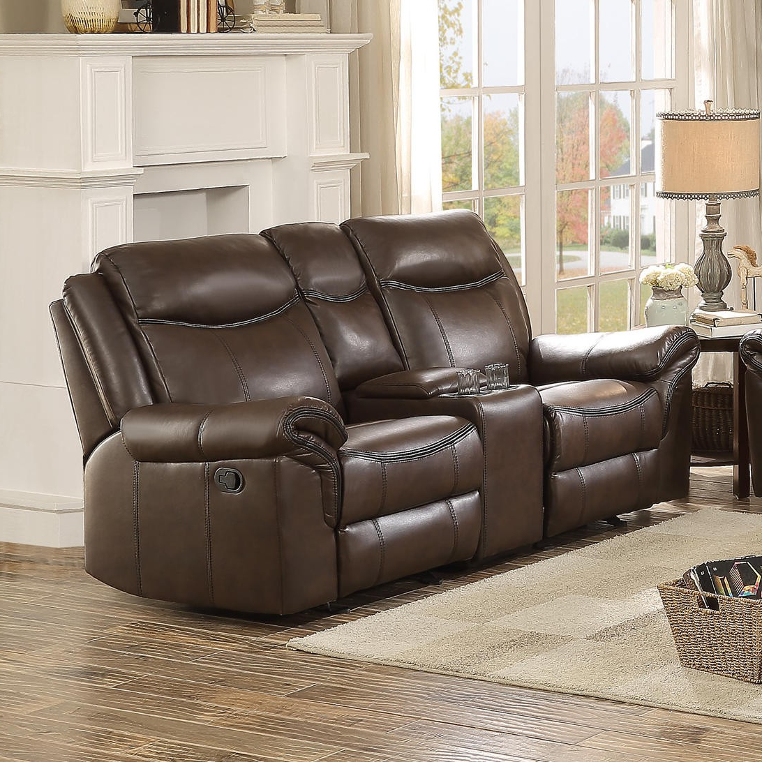 Double Glider Loveseats Intended For Most Up To Date Homelegance Aram Double Glider Reclining Loveseat With Console In Dark Brown (View 16 of 30)