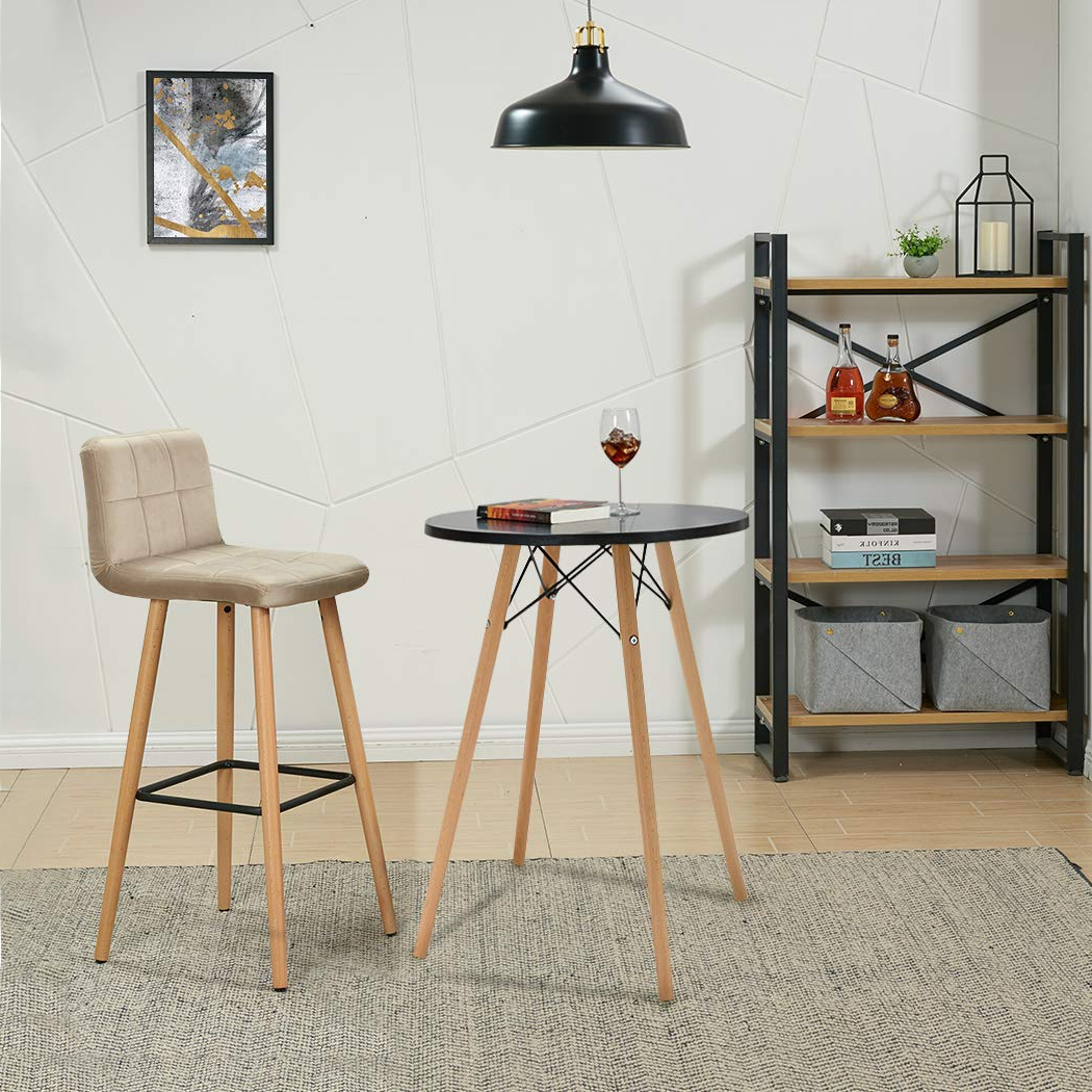 "Duhome 24"" Round Dining Table Mdf Top Wooden Leg Stylish Regarding Widely Used Eames Style Dining Tables With Wooden Legs (View 4 of 30)"