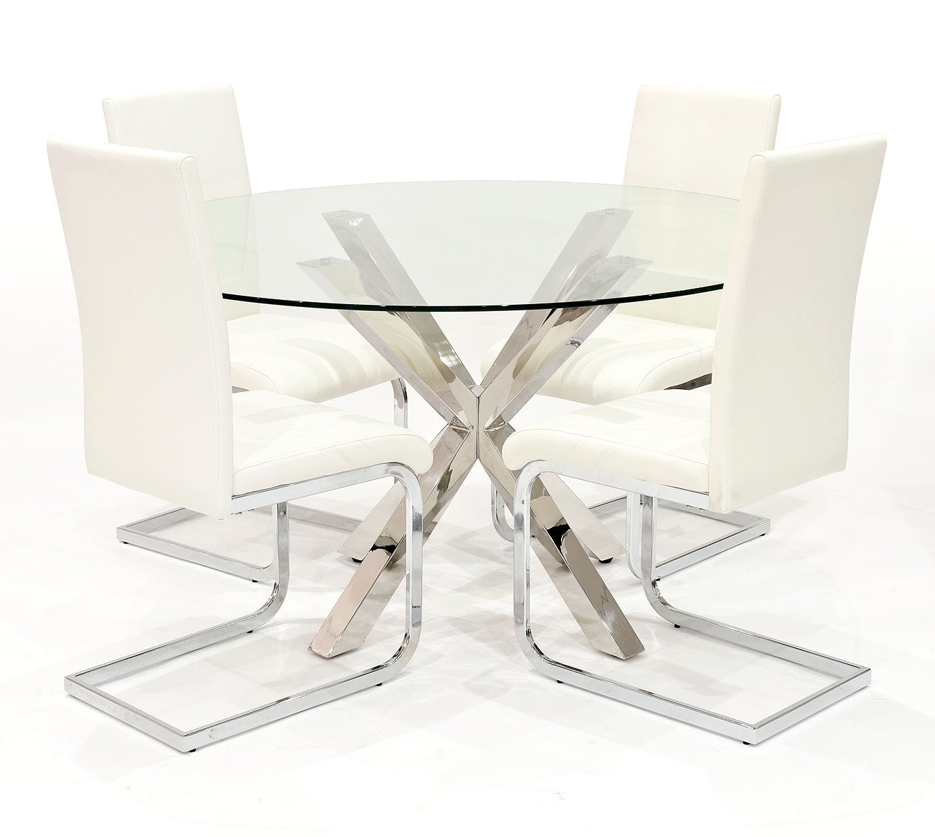 Eames Style Dining Tables With Chromed Leg And Tempered Glass Top In Most Current Febland Crossley Round Dining Table With Six Chairs: Amazon (View 6 of 30)
