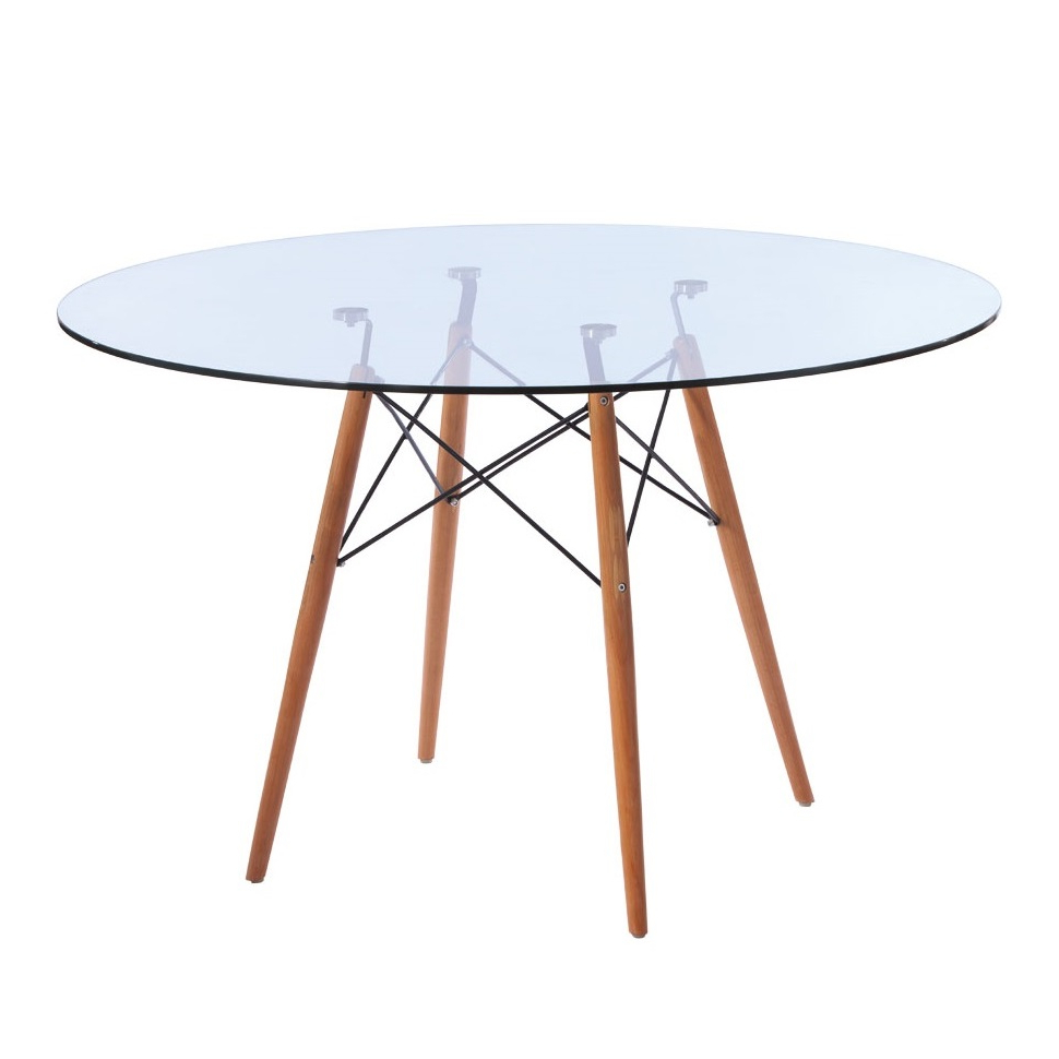 Eames Style Dining Tables With Chromed Leg And Tempered Glass Top In Most Popular Replica Eames Eiffel Wood Leg Table (View 7 of 30)