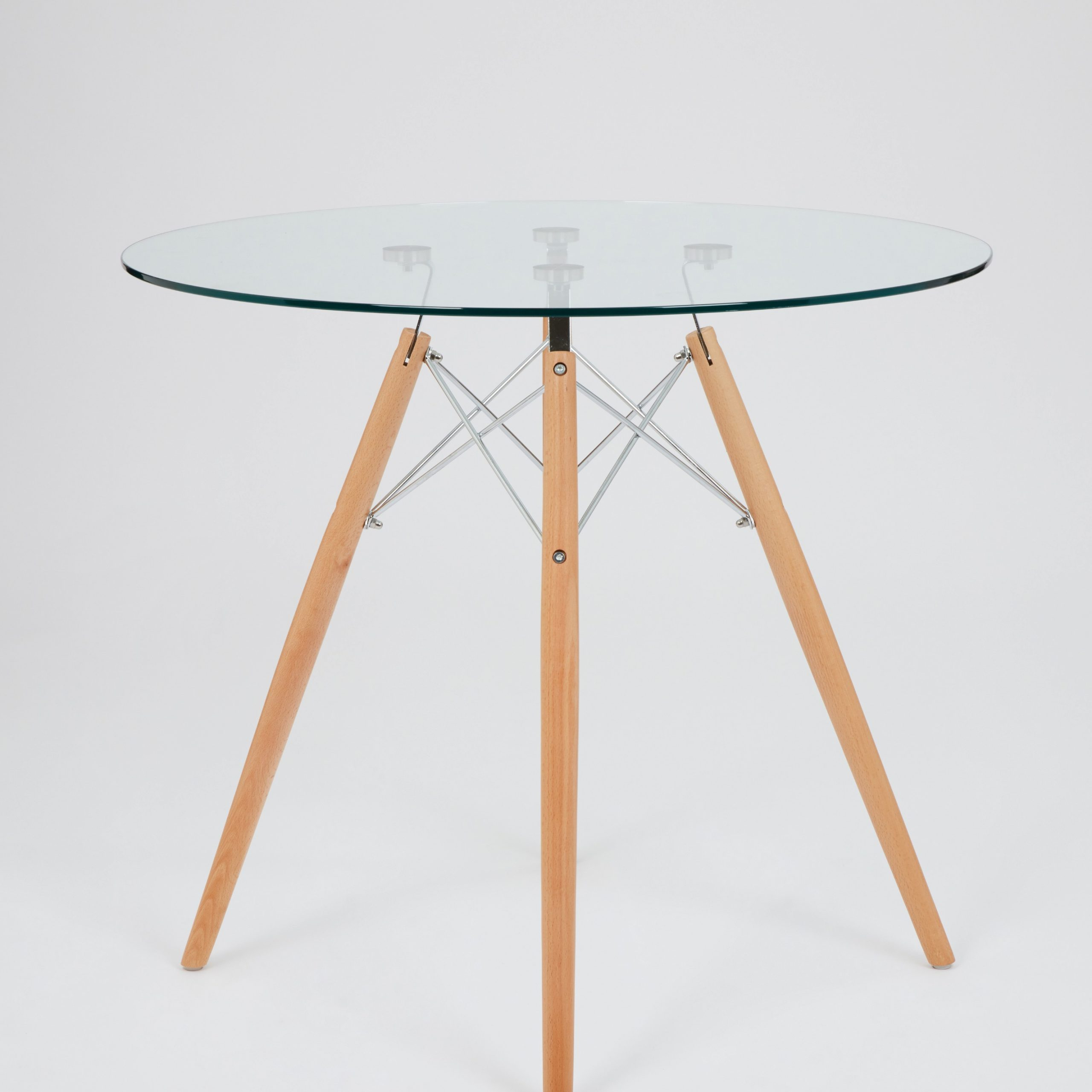 Eames Style Dining Tables With Chromed Leg And Tempered Glass Top Pertaining To Newest Dining Glass Table With Beechwood Legs (Size: 80Cm (View 8 of 30)