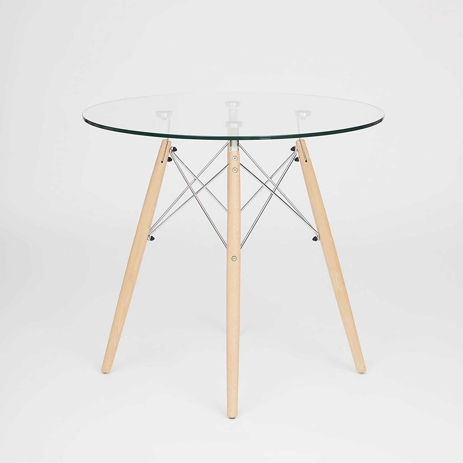 Eames Style Dining Tables With Chromed Leg And Tempered Glass Top Within Best And Newest Ochs Dsw Style Dining Round Table Glass Top With Natural (View 10 of 30)