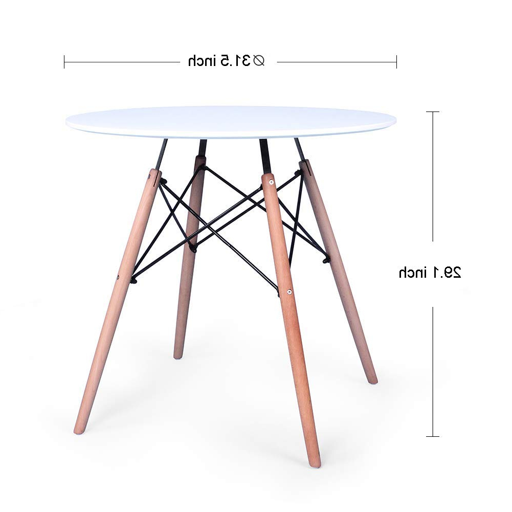Eames Style Dining Tables With Wooden Legs With Regard To Widely Used Kingland Kitchen Dining Table Eames Style Round Coffee Table Modern Leisure  Wood Tea Table Office Conference Pedestal Desk,natural (View 12 of 30)