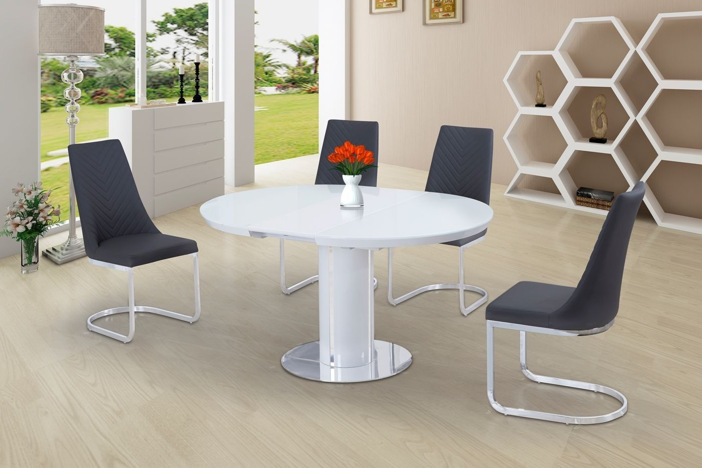 Eclipse Round / Oval Gloss & Glass Extending 110 To 145 Cm Dining Table – White Inside Well Known Eclipse Dining Tables (View 9 of 30)
