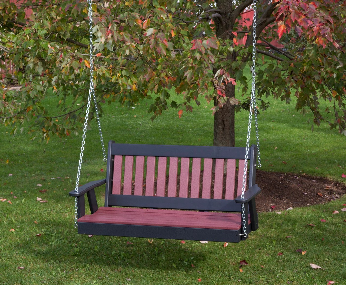 Ecommersify Inc 5ft Black Poly Lumber Mission Porch Swing Heavy Duty Everlasting Polytuf Hdpe – Made In Usa – Amish Crafted Throughout Trendy Outdoor Furniture yacht Club 2 Person Recycled Plastic Outdoor Swings (View 27 of 30)