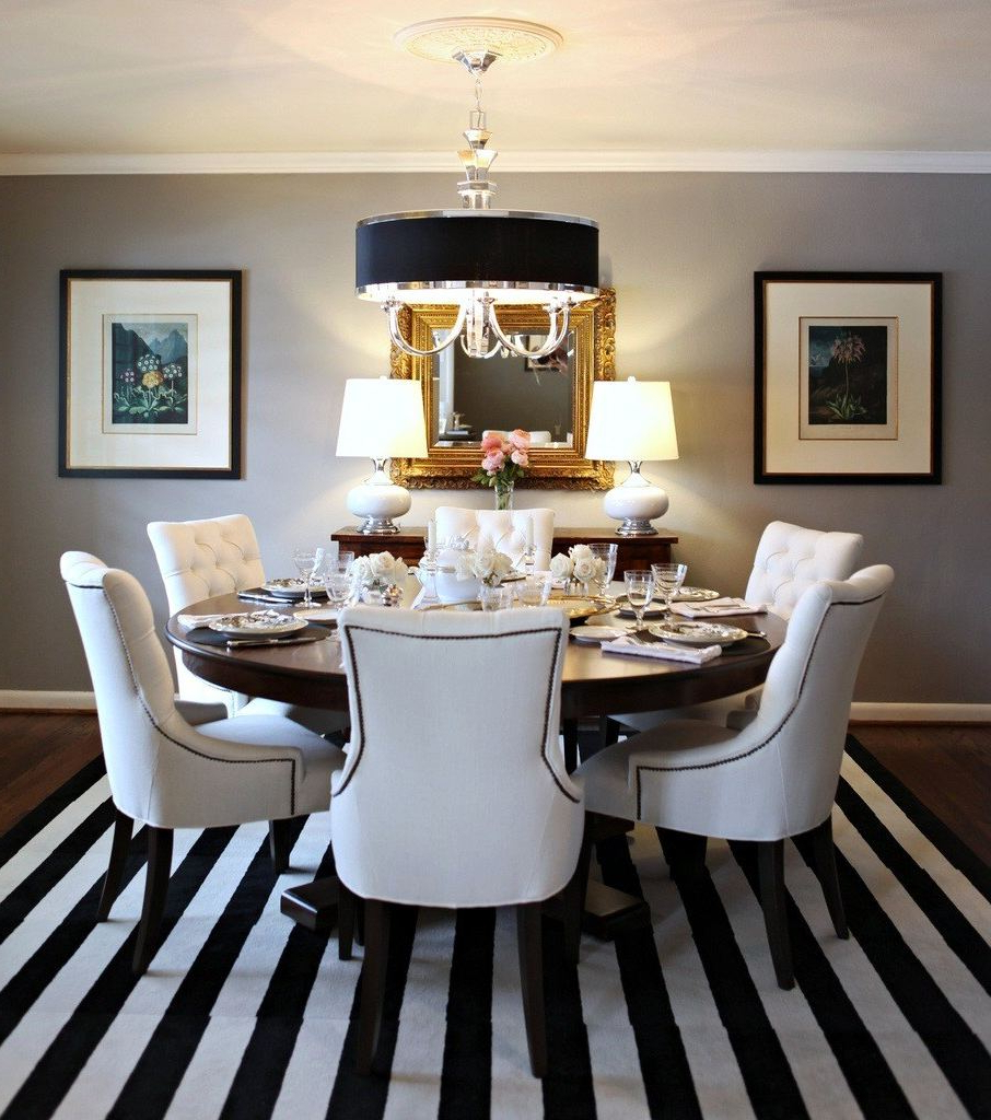 Elegance Large Round Dining Tables For Most Recent Top 36 Terrific Dining Room Area Rugs Ideas Large Brown (View 10 of 30)