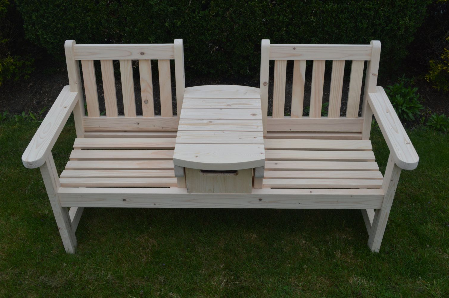 English Twin Seater Bench With Table And Wood Crate Drawer With Well Known Twin Seat Glider Benches (View 8 of 31)