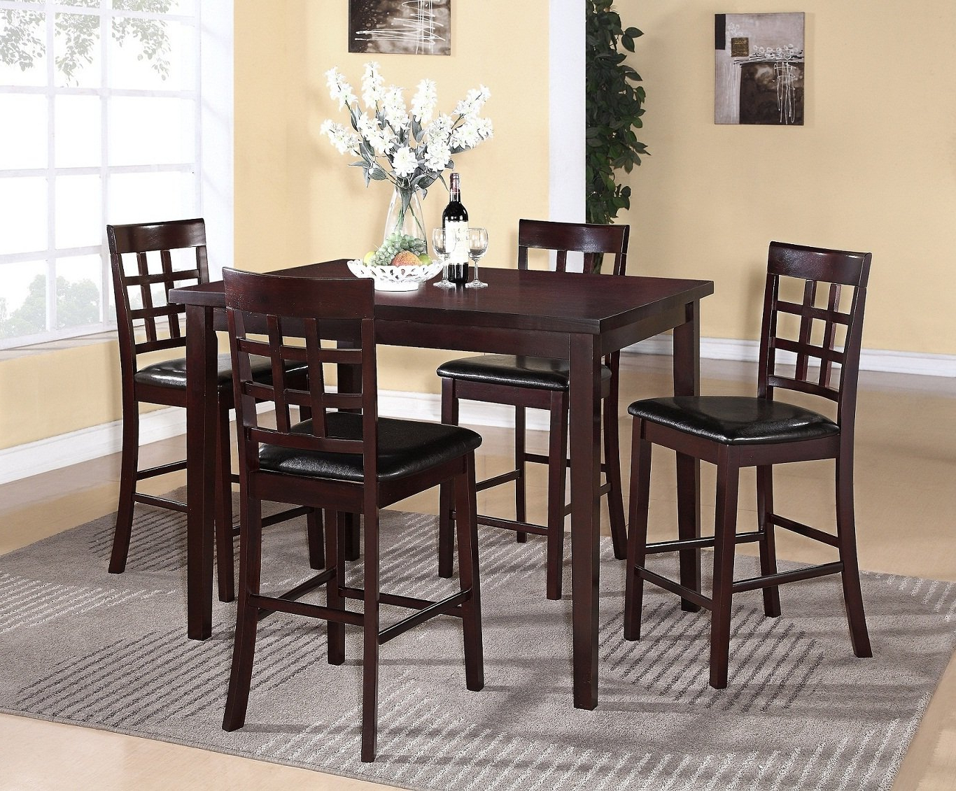 Espresso Finish Wood Classic Design Dining Tables Pertaining To Current Poka 5Pc Espresso Finish Rectangle Wood Counter Height Dining Set (View 6 of 30)