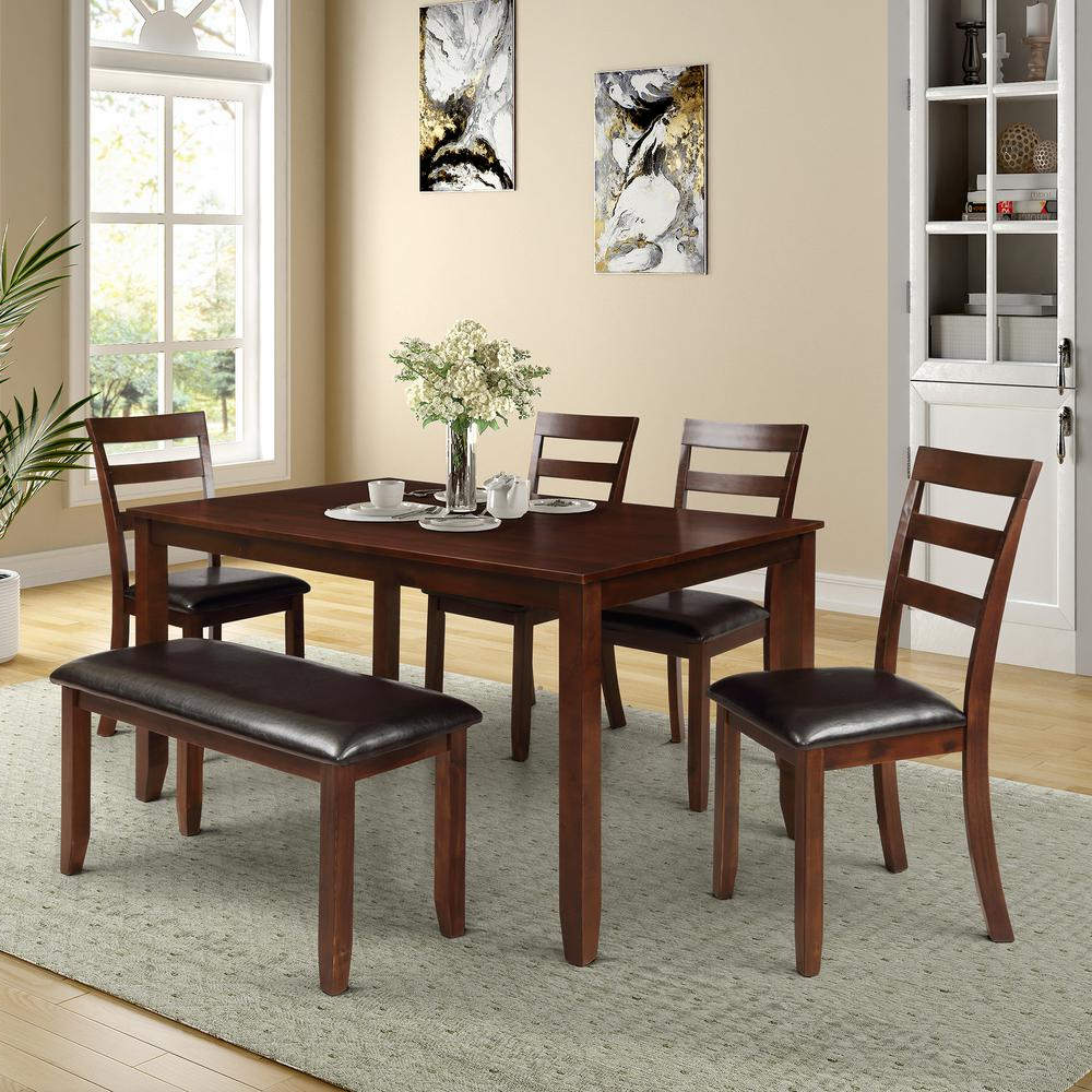 Espresso Finish Wood Classic Design Dining Tables Pertaining To Latest Harper & Bright Designs 6 Piece Dining Set With 4 Ladder (View 7 of 30)