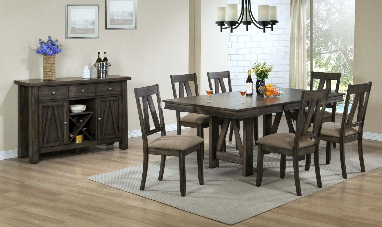 Espresso Finish Wood Classic Design Dining Tables With Fashionable Thompson 7 Piece Dining Room Set – Espresso (View 11 of 30)