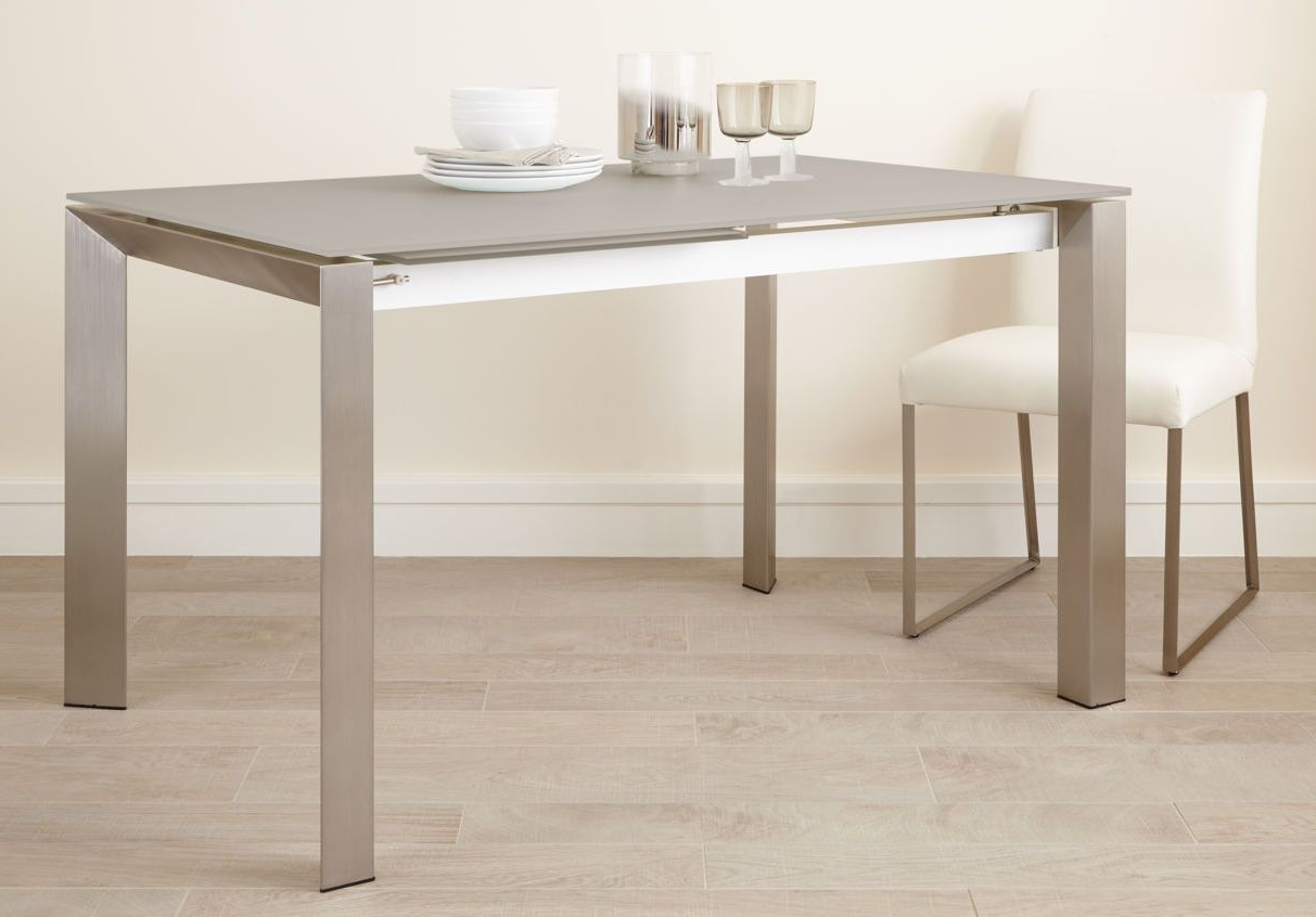 Eve Frosted Glass Extending Dining Table In Grey And Brushed Inside Newest Glass Dining Tables With Metal Legs (View 7 of 30)