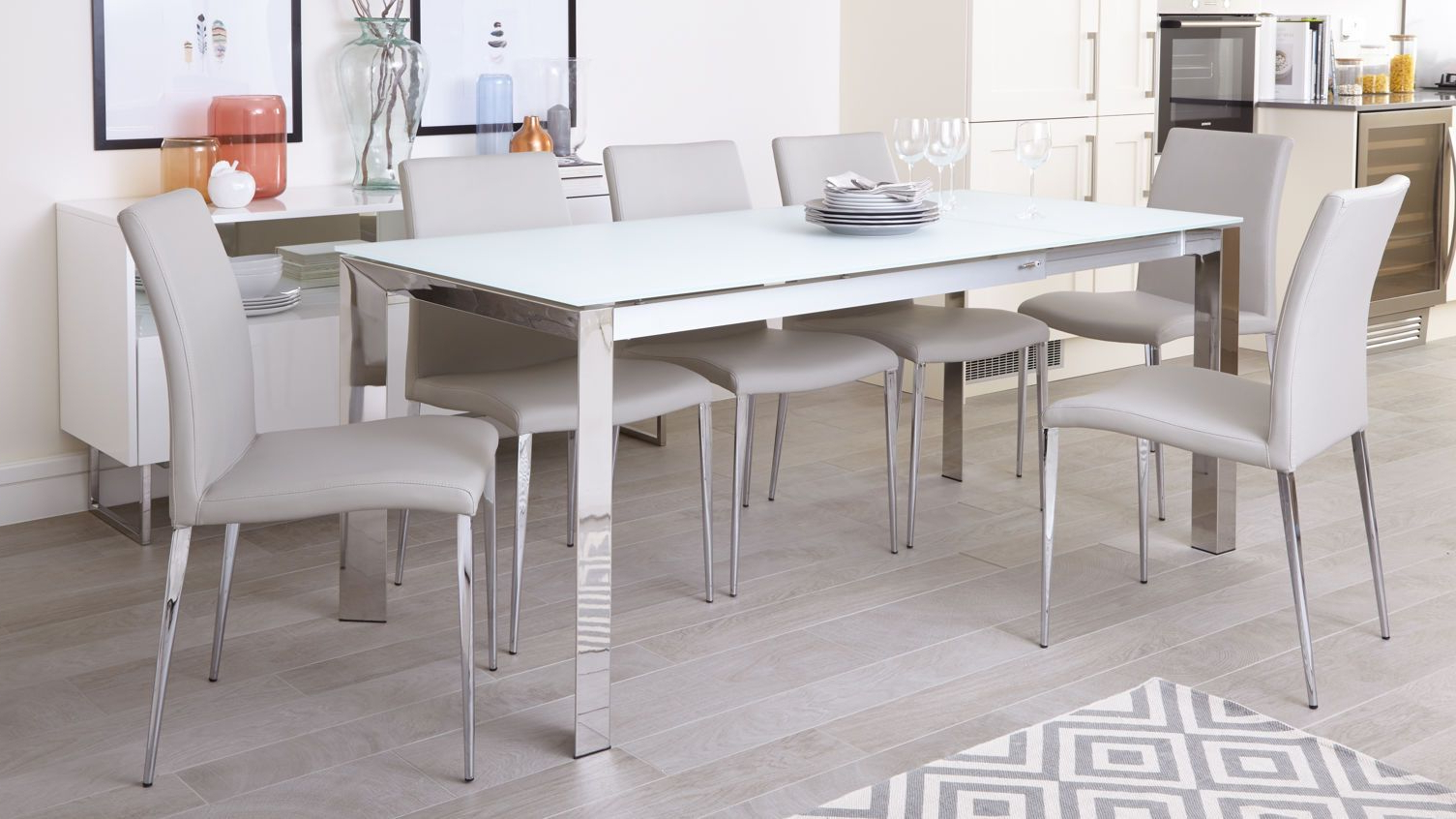 Eve White Frosted Glass With Chrome And Elise Extending Throughout Newest Chrome Contemporary Square Casual Dining Tables (View 16 of 30)