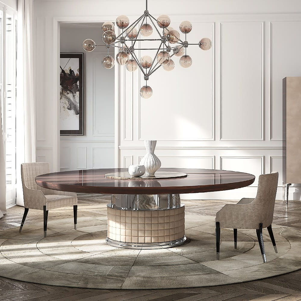 Exclusive Italian Large Round Ebony Dining Table – Juliettes Pertaining To Famous Elegance Large Round Dining Tables (View 4 of 30)