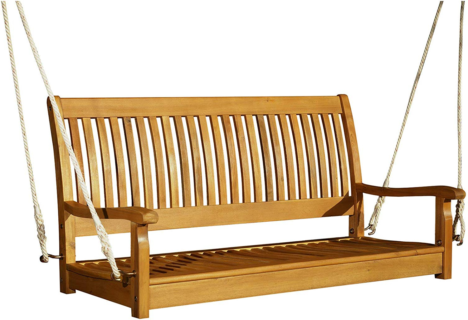 "Famous 2 Person Natural Cedar Wood Outdoor Swings Pertaining To Amazon : Outsunny 48"" Hanging Porch Swing Seat Acacia (View 3 of 30)"