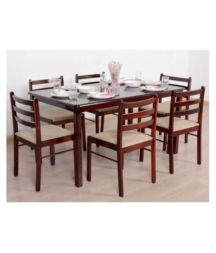 Famous 6 Seater Retangular Wood Contemporary Dining Tables With T2A Javint Six Seater Dining Table Set – Contemporary Solid (View 13 of 30)