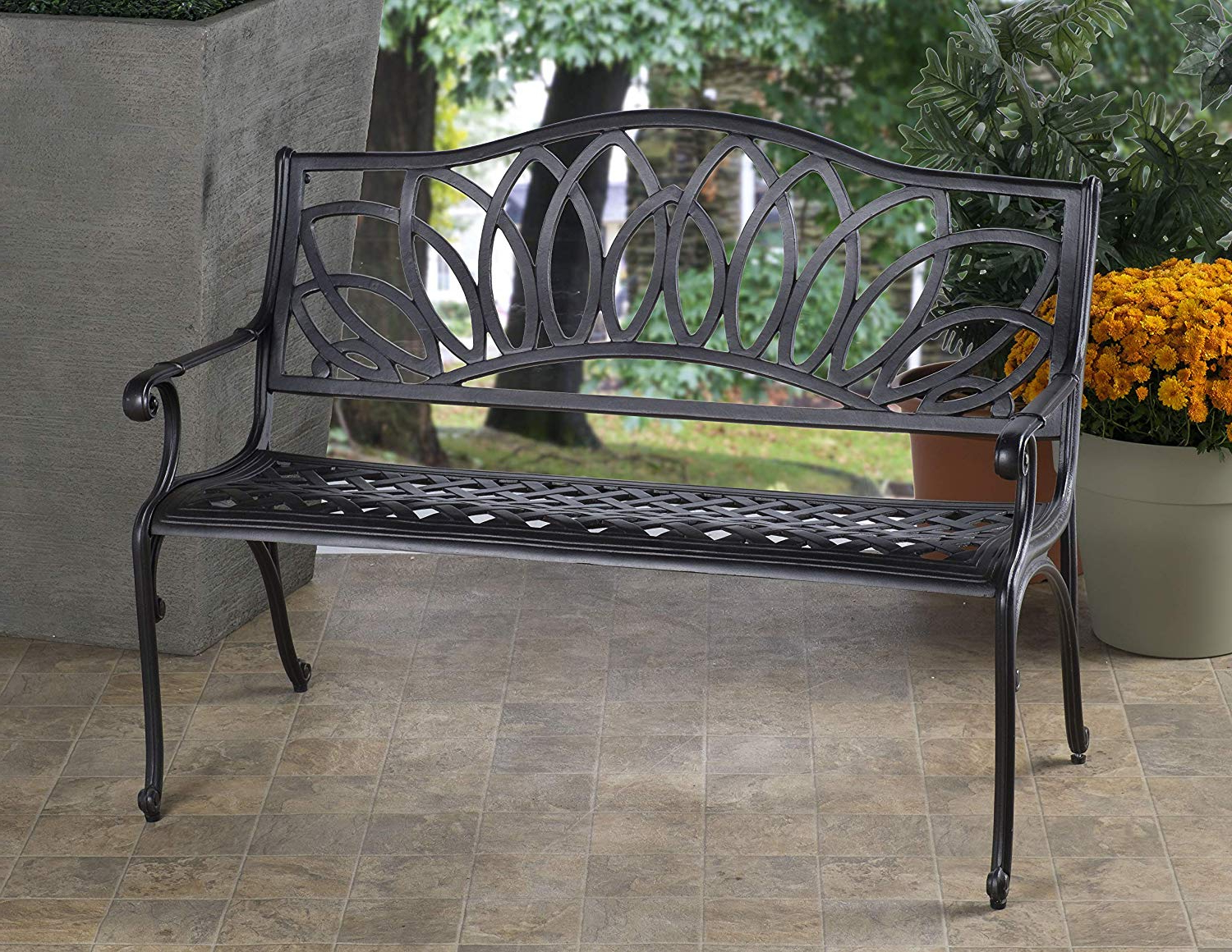 Famous Alfresco Home Cast Aluminum Daffodil Garden Bench, Aged Iron Pertaining To Iron Grove Slatted Glider Benches (View 21 of 30)
