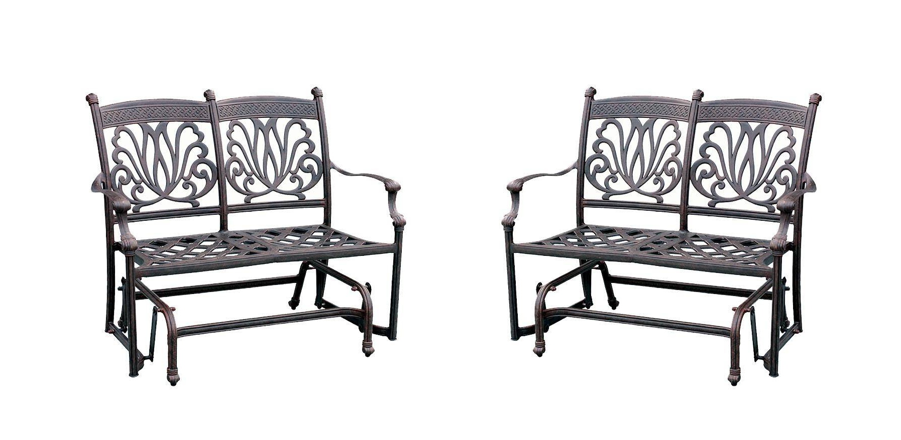 Famous Ariana Cast Aluminum Bench Loveseat Glider W/ Sunbrella In Loveseat Glider Benches With Cushions (View 14 of 30)
