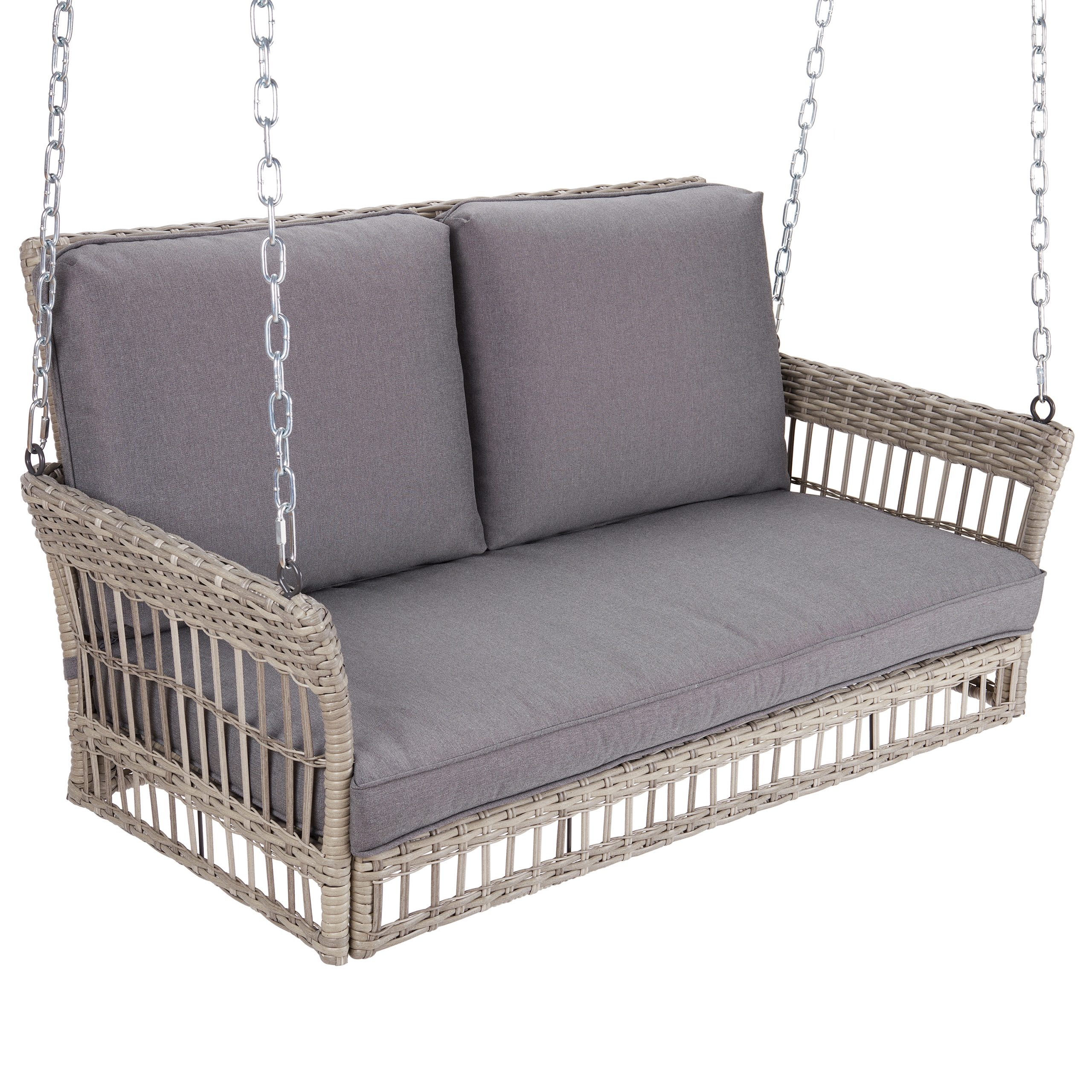 Famous Better Homes & Gardens Belfair Outdoor Wicker Porch Swing Within 2 Person Outdoor Convertible Canopy Swing Gliders With Removable Cushions Beige (Gallery 30 of 30)