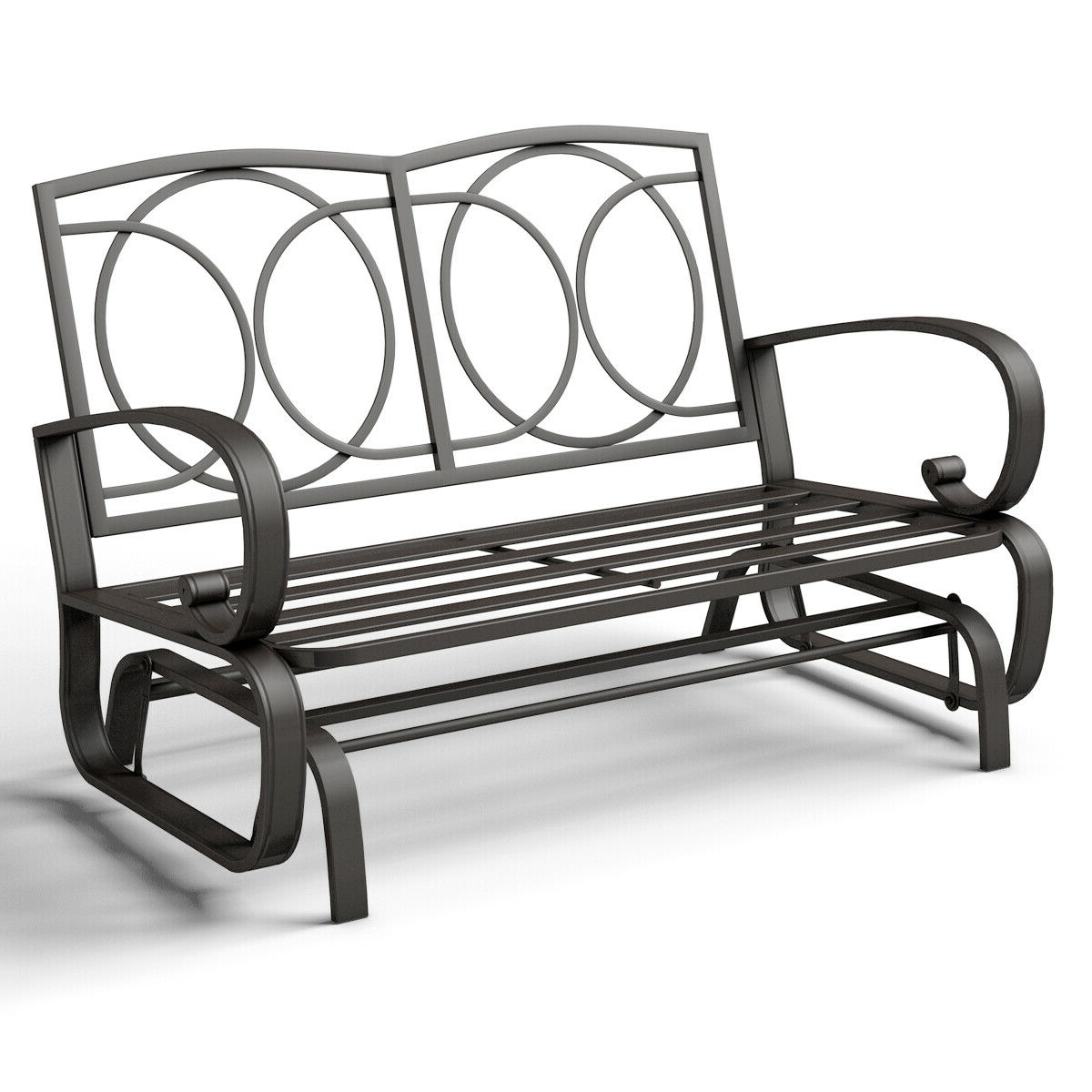 Famous Costway Glider Outdoor Patio Rocking Bench Loveseat Pertaining To Black Steel Patio Swing Glider Benches Powder Coated (View 12 of 30)