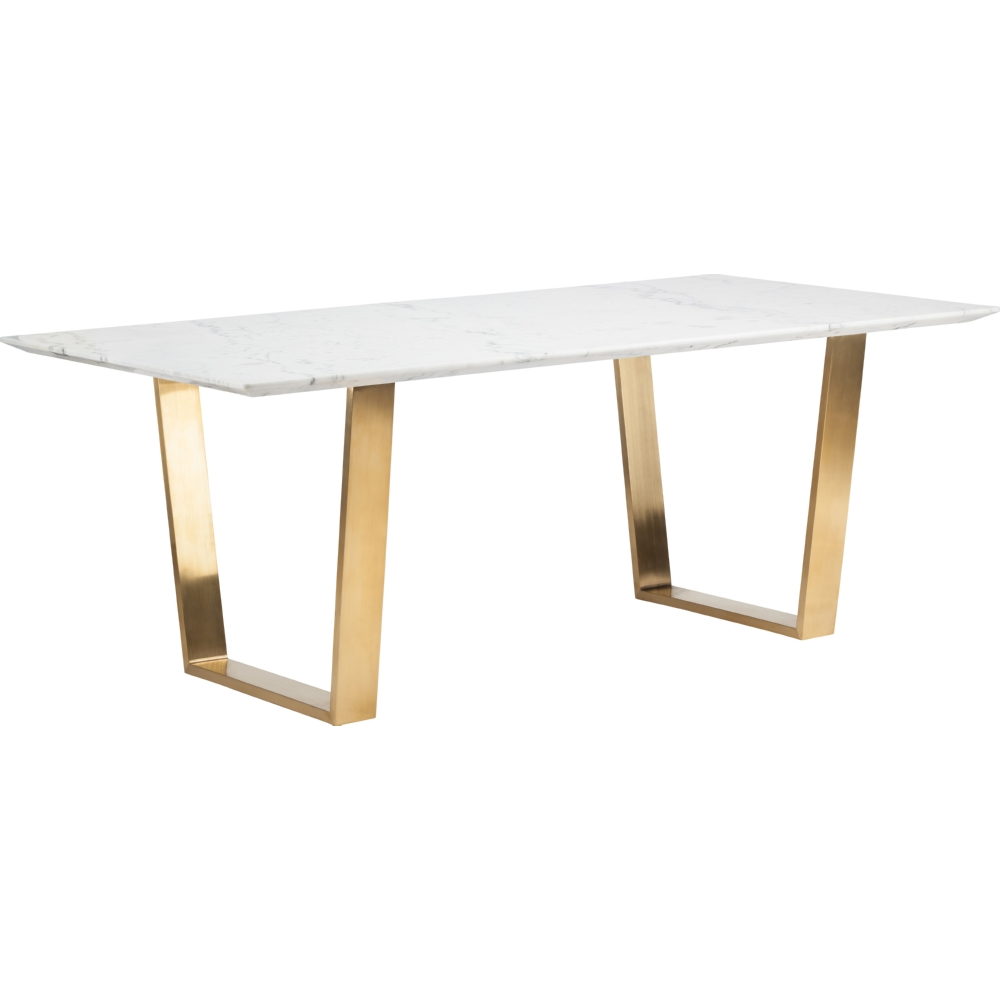 Famous Dining Tables With Brushed Gold Stainless Finish Regarding Nuevo Modern Furniture Hgsx139 Catrine Dining Table White (View 7 of 30)