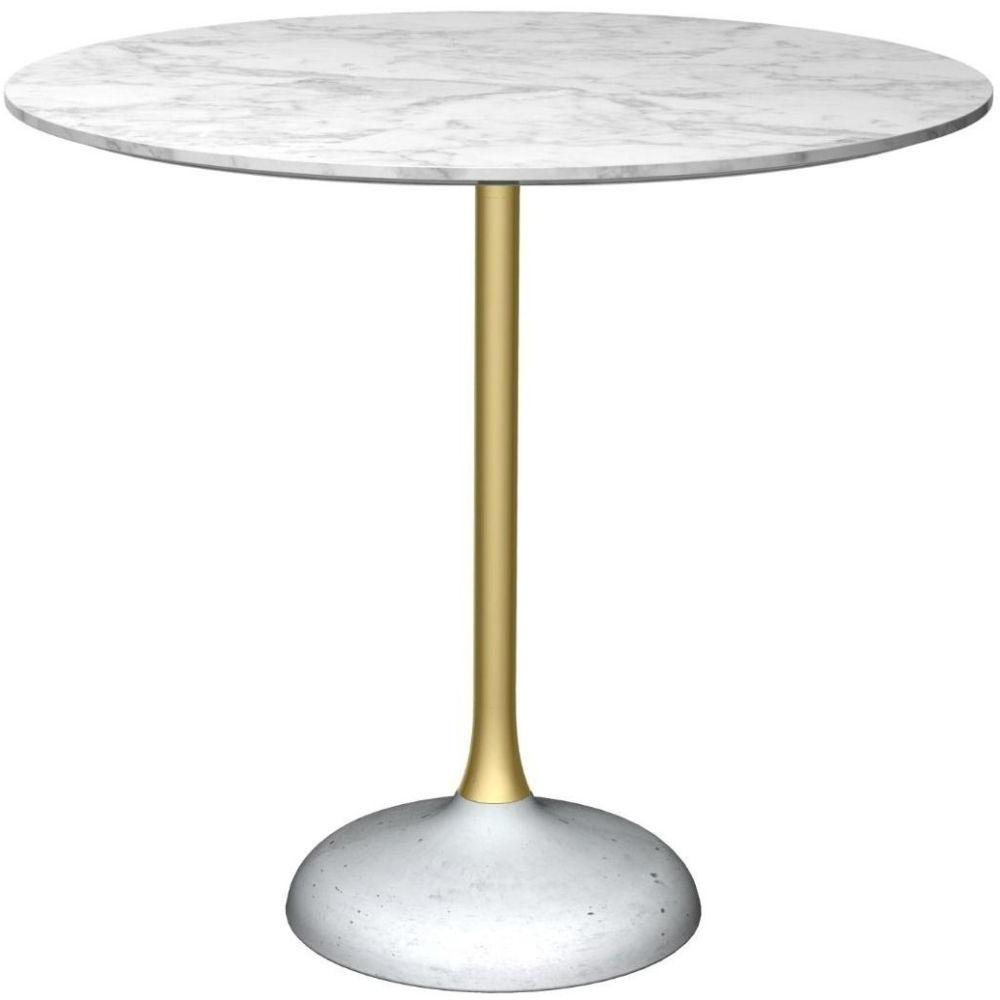 Famous Dining Tables With White Marble Top With Regard To Notting White Marble Top And Brass Column 80cm Round Dining Table With Concrete Base (View 26 of 30)