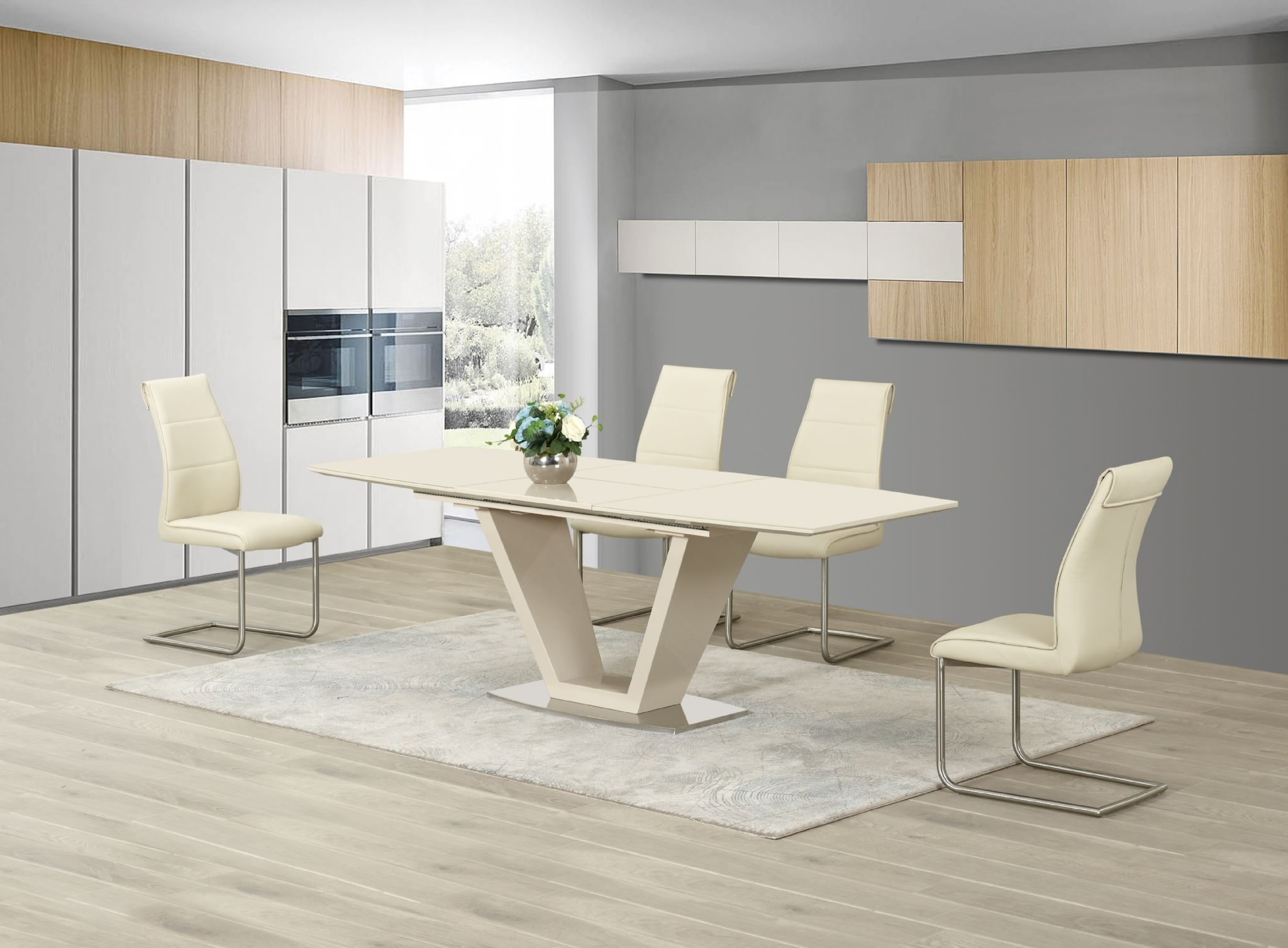 Famous Floris Cream Extending Dining Table High Gloss Inside Modern Glass Top Extension Dining Tables In Matte Black (View 9 of 30)