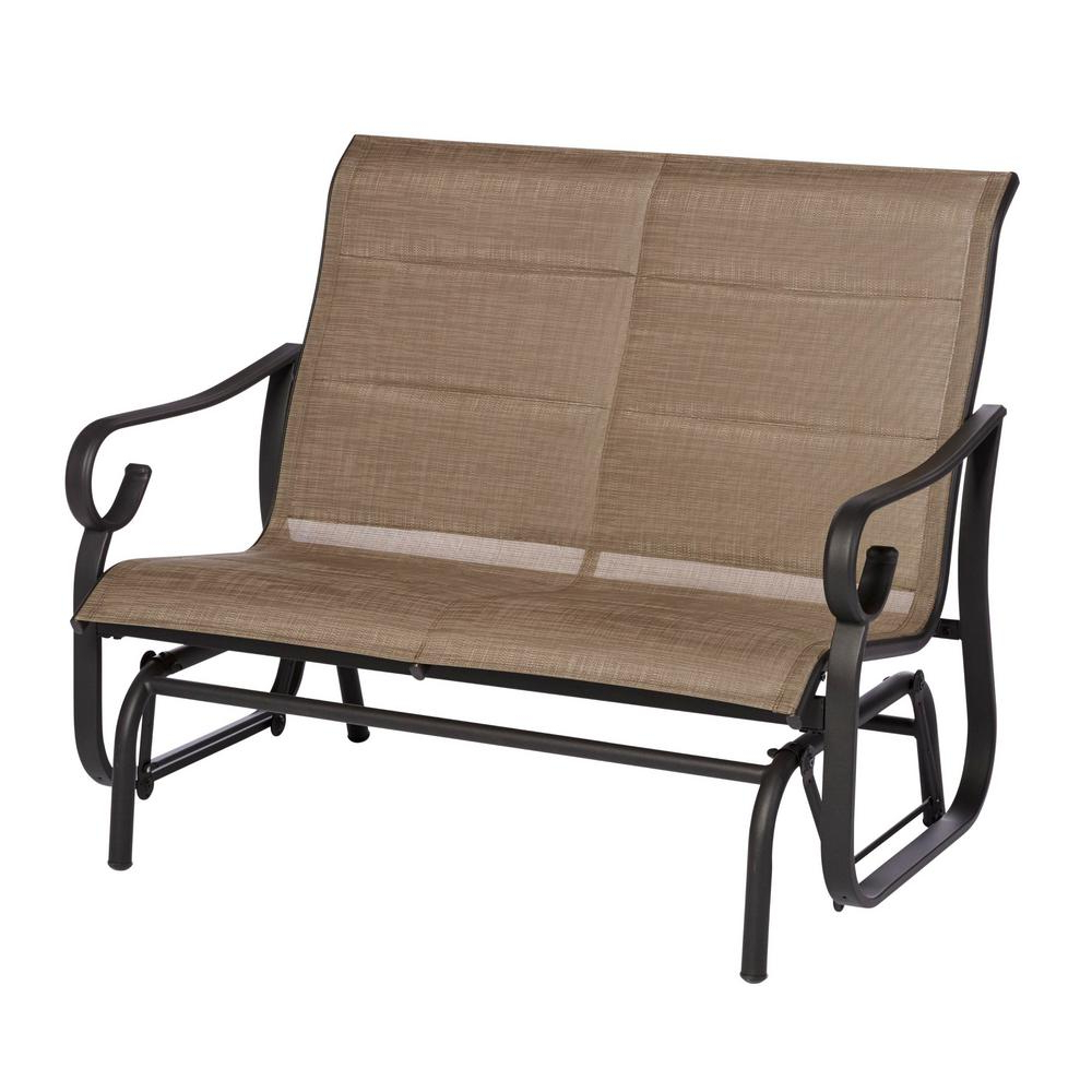 Famous Hampton Bay Crestridge Padded Sling Outdoor Glider In Putty In Outdoor Retro Metal Double Glider Benches (Gallery 19 of 30)
