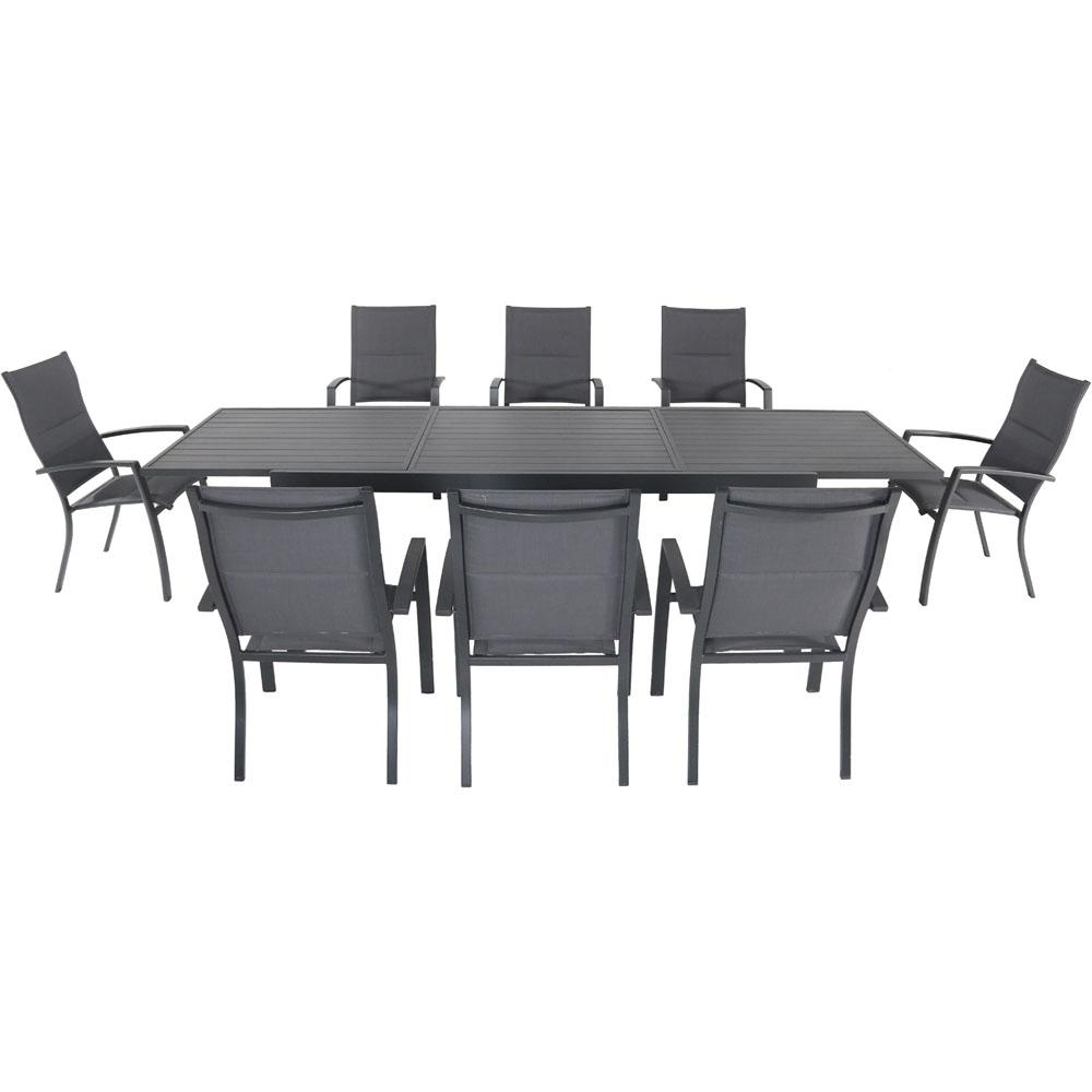 Famous Hanover Naples 9 Piece Aluminum Outdoor Dining Set With 8 Padded Sling  Chairs And A 40 In. X 118 In. Expandable Dining Table With Regard To Padded Sling Loveseats With Cushions (Gallery 15 of 30)