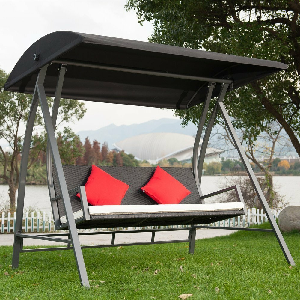 Famous Kroeger Pe Wicker Glider Outdoor Porch Swing With Stand Within Wicker Glider Outdoor Porch Swings With Stand (View 7 of 30)