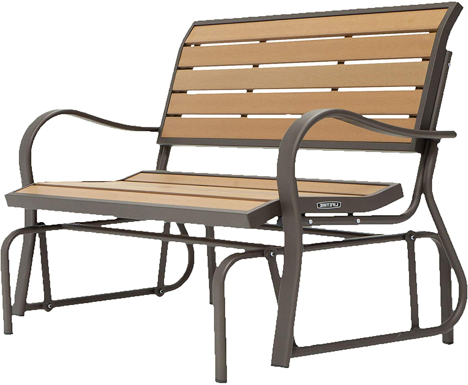 Famous Lifetime 60055 Outdoor Glider Bench, 4', Walnut Brown Regarding Low Back Glider Benches (Gallery 7 of 30)