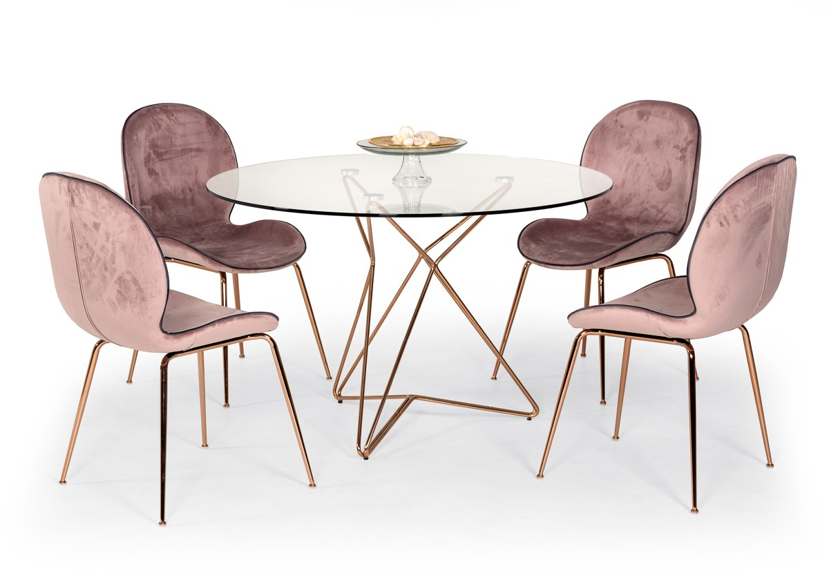 Famous Modrest Ashland Modern Glass Round Dining Table – Modern In Modern Gold Dining Tables With Clear Glass (Gallery 27 of 30)