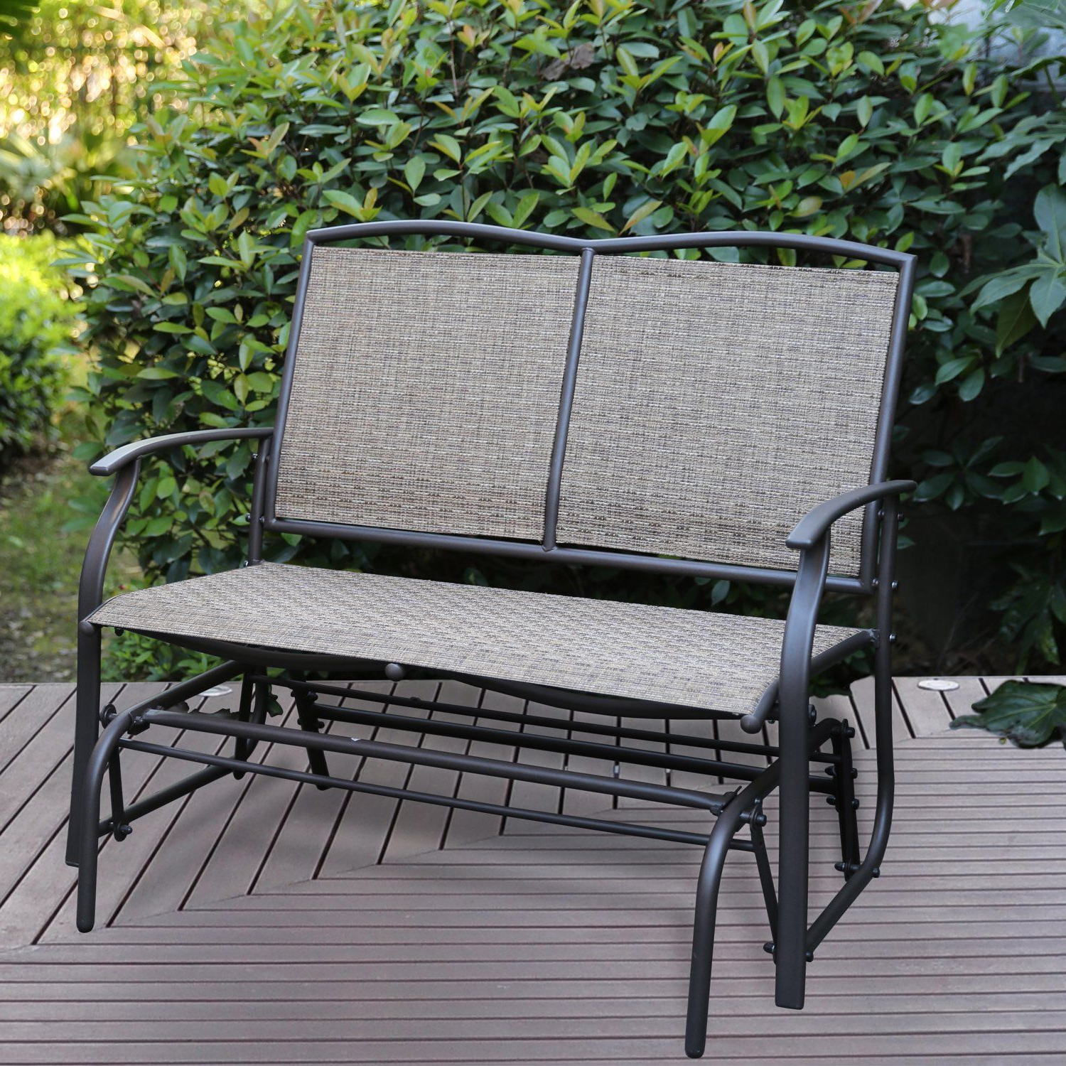 Famous Outdoor Patio Swing Glider Bench Chair S In Patio Tree Patio Swing Glider Bench For 2 Person All (View 4 of 30)