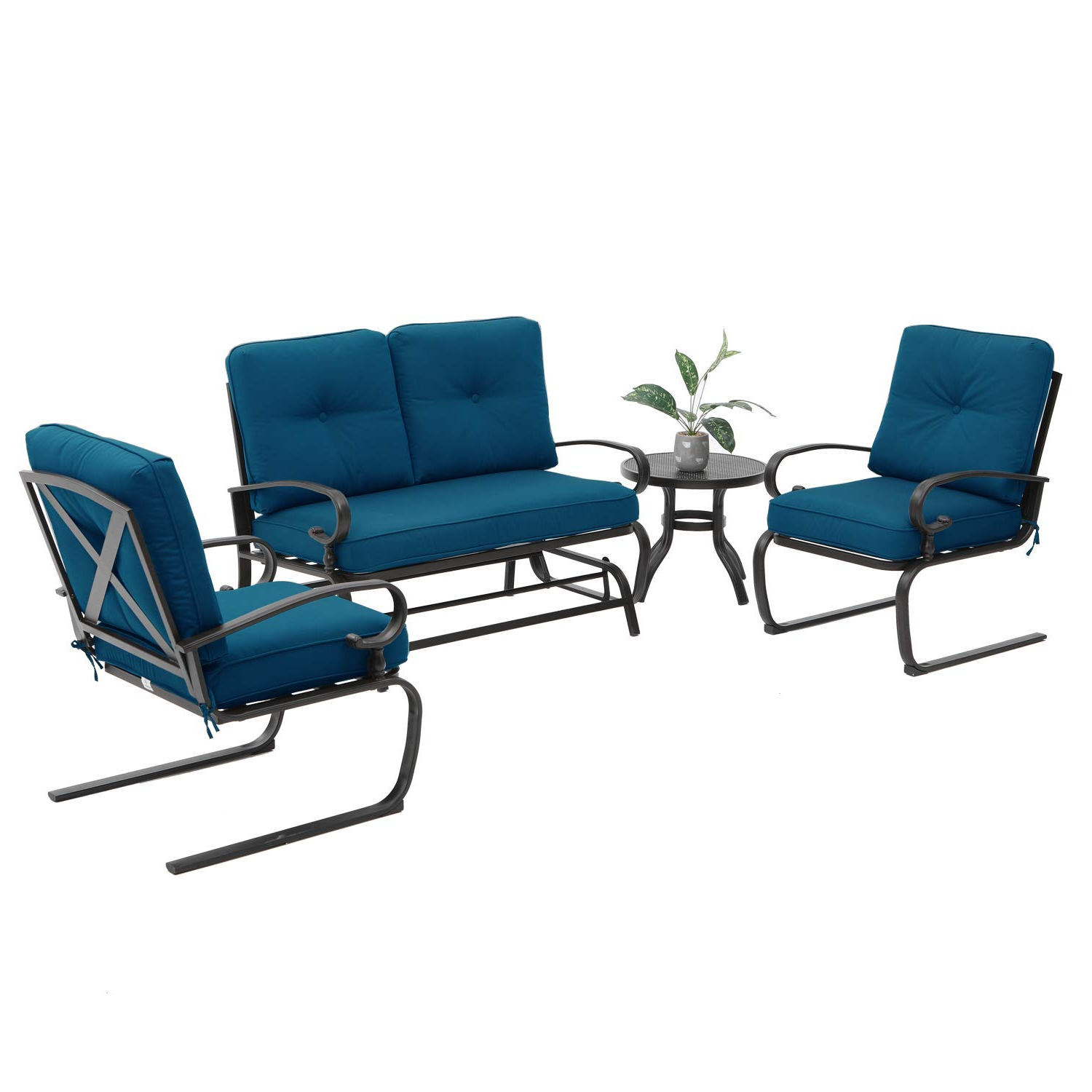 Famous Outdoor Patio Swing Glider Bench Chair S With Loveseat, Bistro Table, 2 Spring Chair Swing Glider Rocking (View 28 of 30)