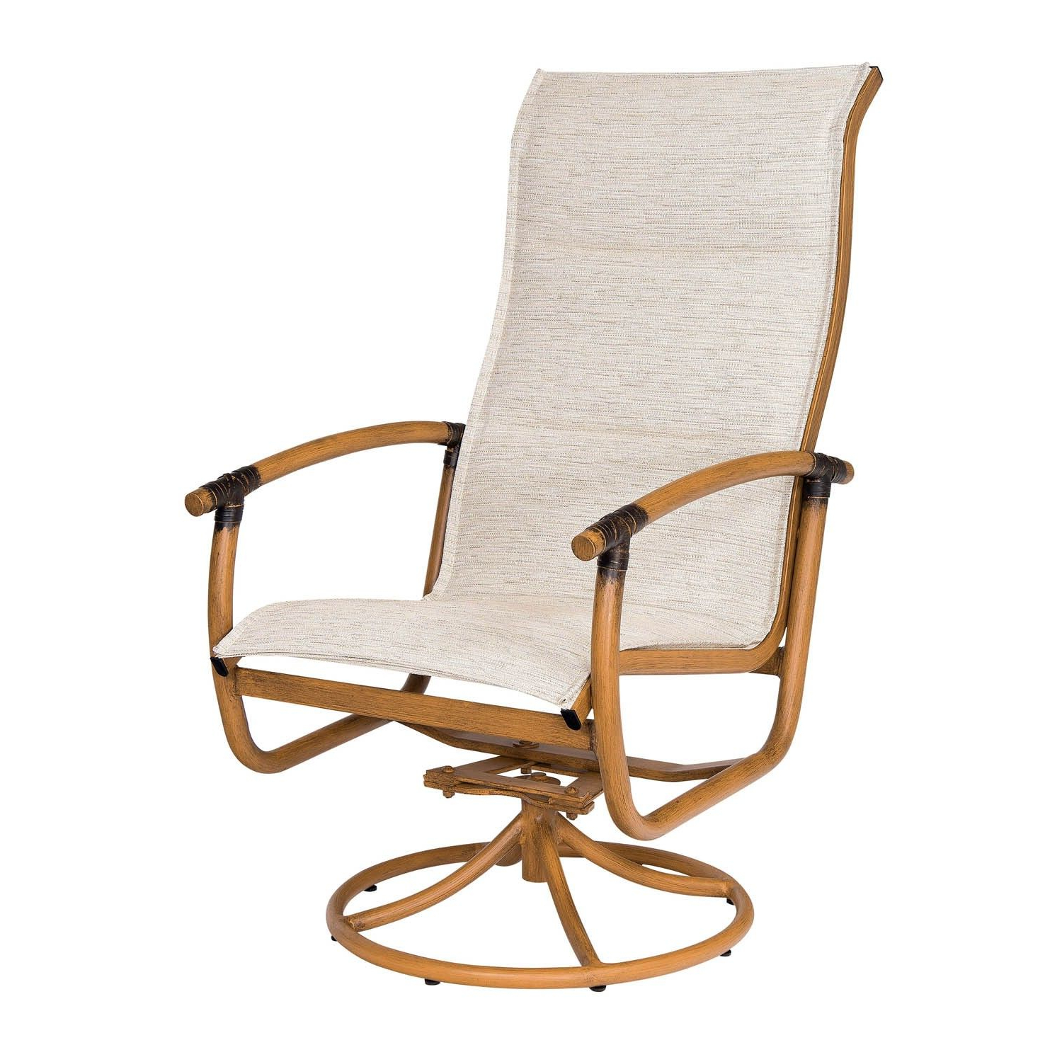 Famous Padded Sling High Back Swivel Chairs In Woodard Glade Isle Padded Sling High Back Swivel Rocker (View 8 of 30)