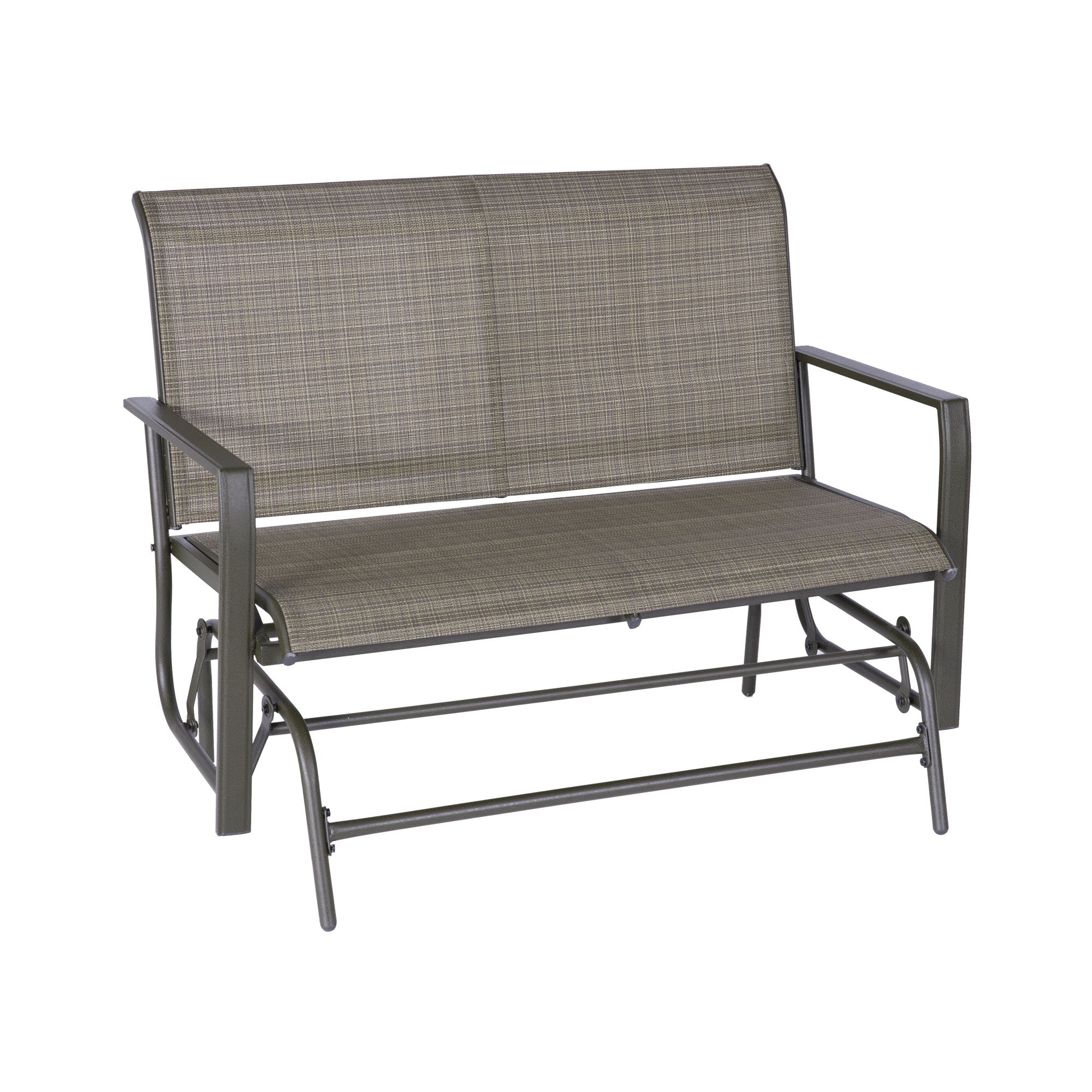 Famous Patio Glider Bench Loveseat Outdoor Cushioed 2 Person In Outdoor Swing Glider Chairs With Powder Coated Steel Frame (Gallery 17 of 30)