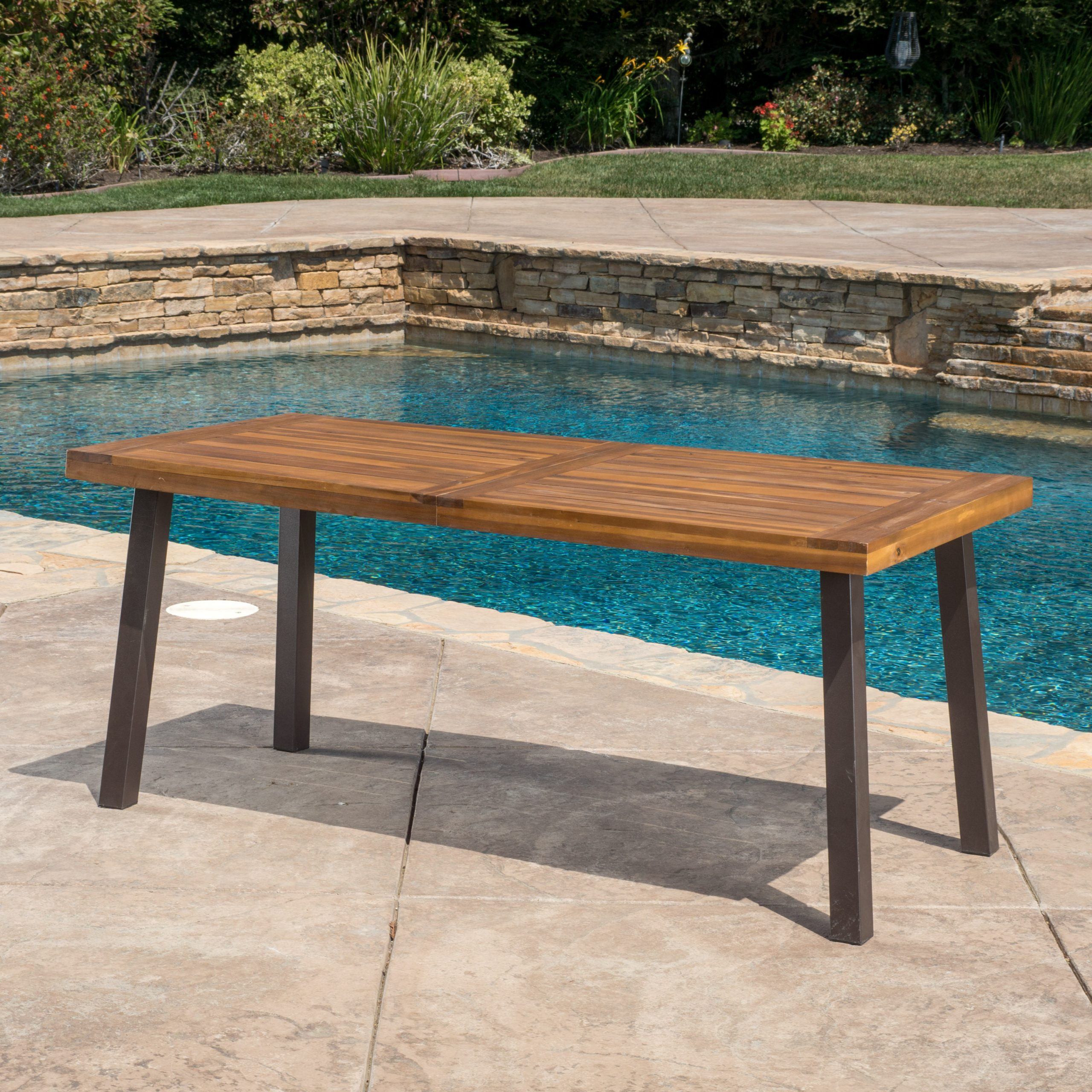 Famous Paul Outdoor Acacia Wood Dining Table, Teak Finish – Walmart In Acacia Wood Top Dining Tables With Iron Legs On Raw Metal (View 30 of 30)