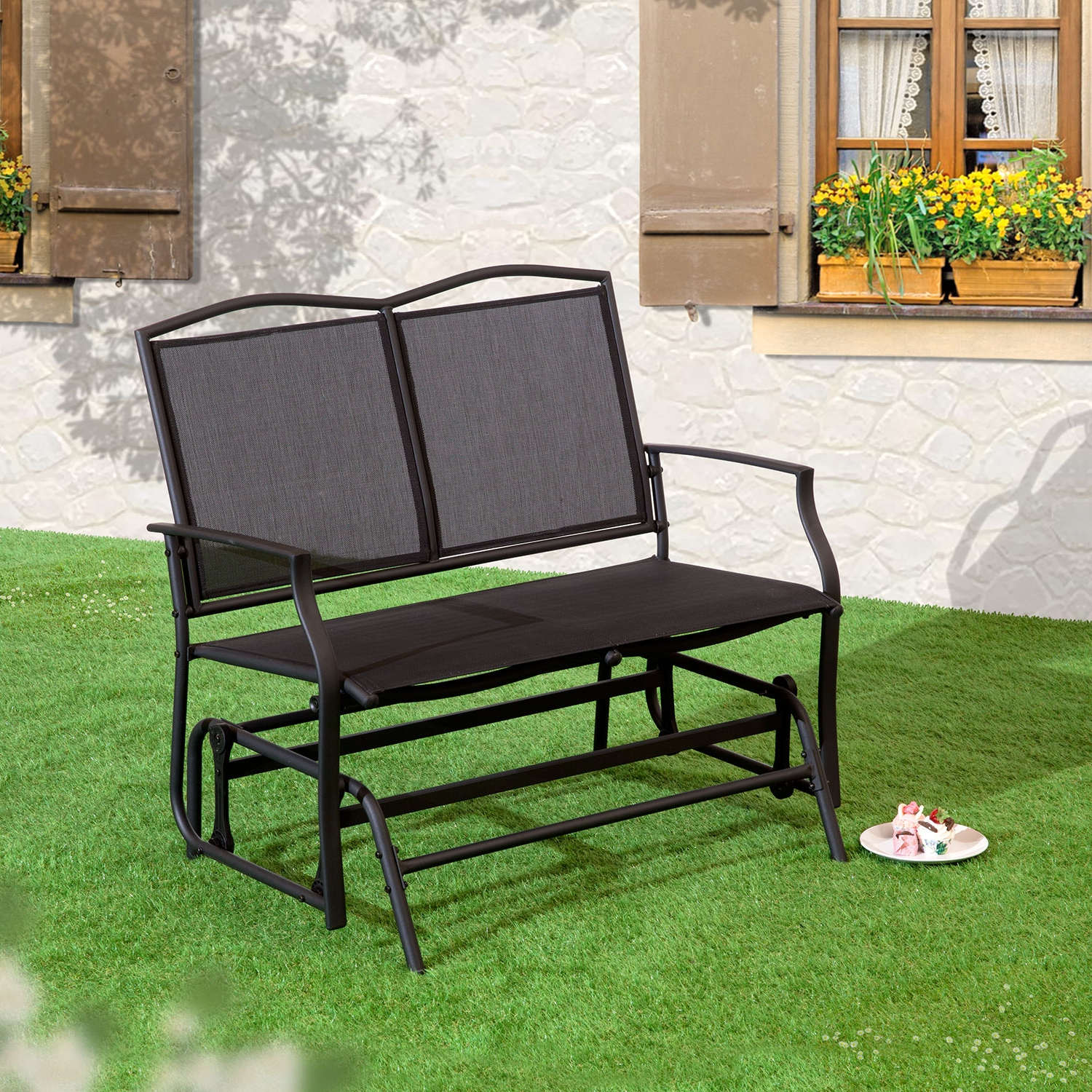 Famous Twin Seat Glider Benches Intended For Details About Black 2 Seat Glider Bench (View 7 of 31)
