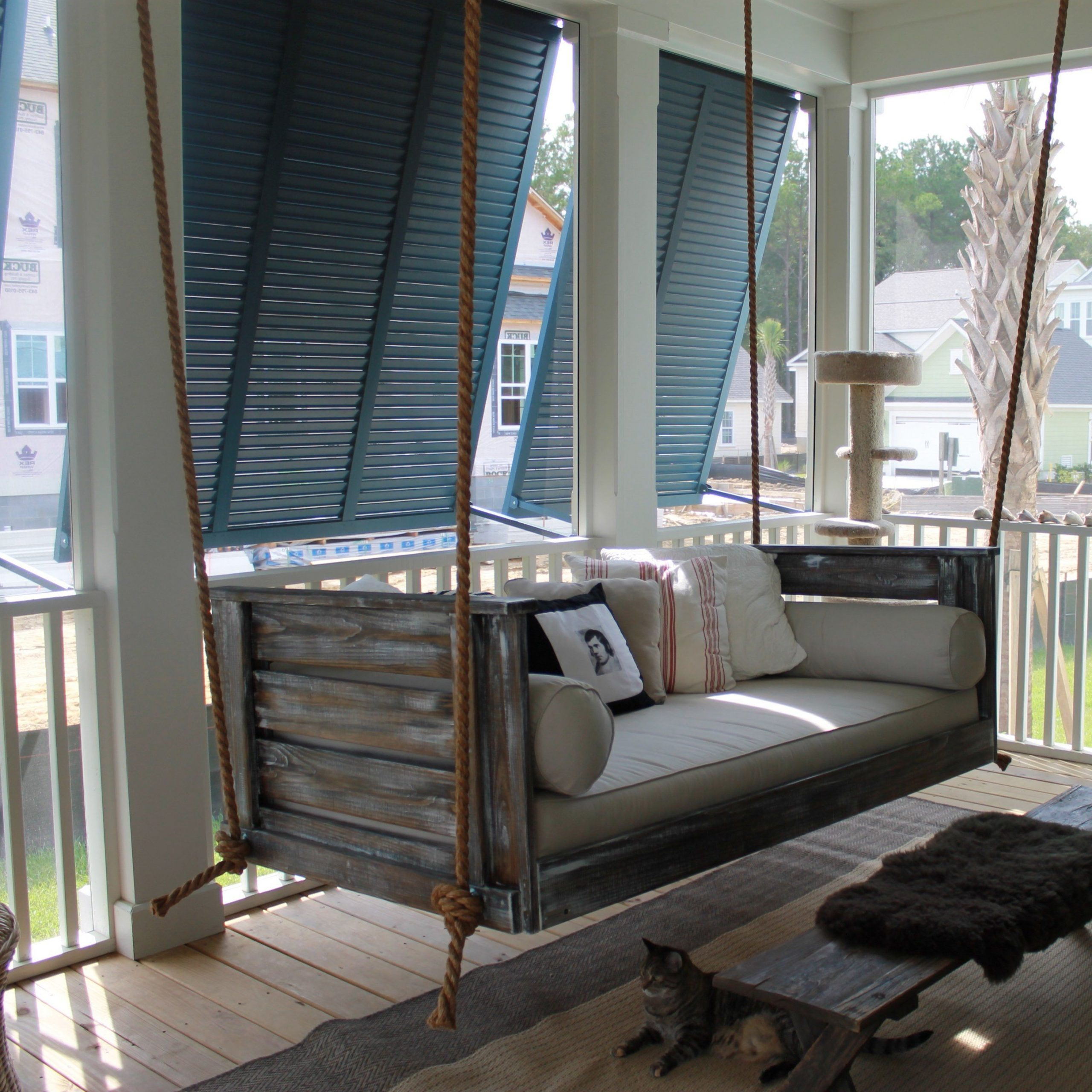 Farmhouse Porch Swings, Vintage With Regard To Country Style Hanging Daybed Swings (Gallery 2 of 30)