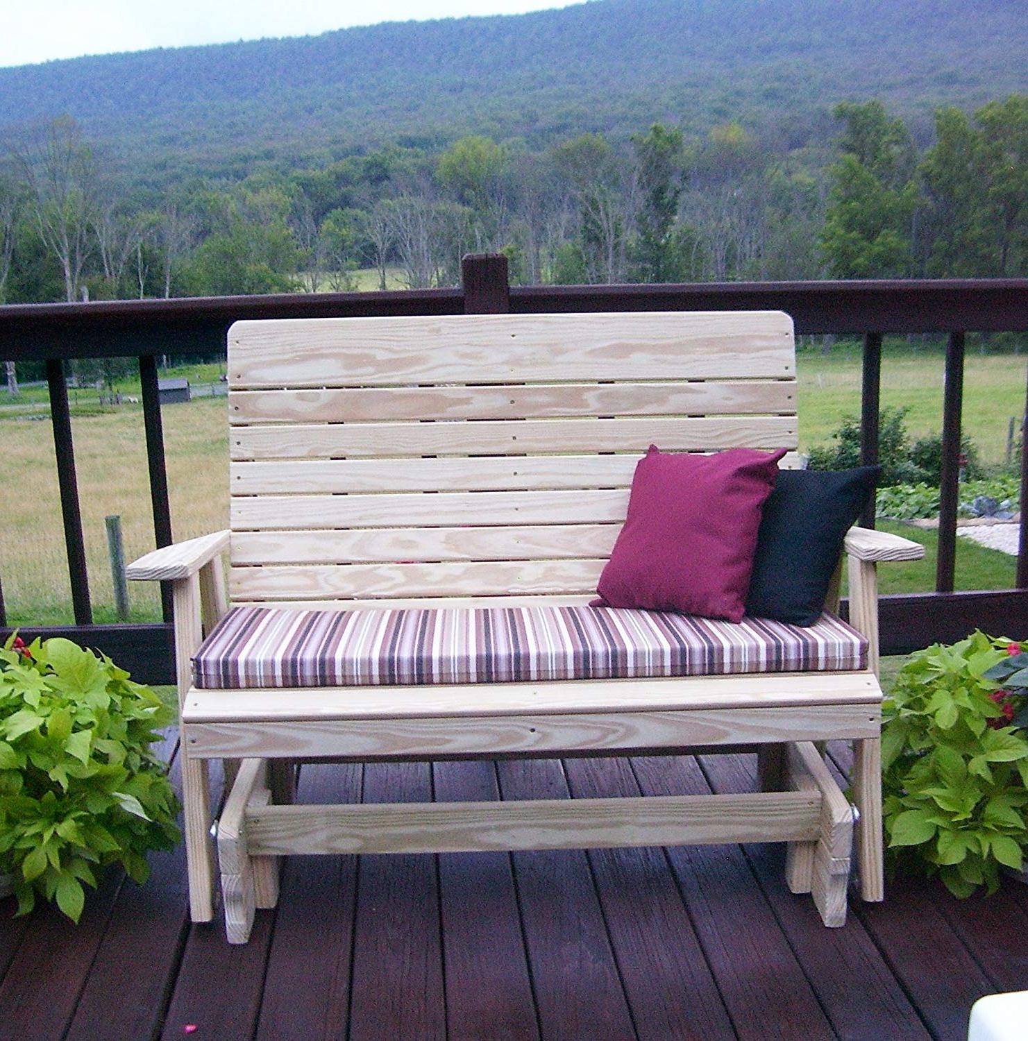 Fashionable 2 Person Natural Cedar Wood Outdoor Gliders In Amazon : Aspen Tree Interiors 4' Porch Glider Outdoor (View 13 of 30)