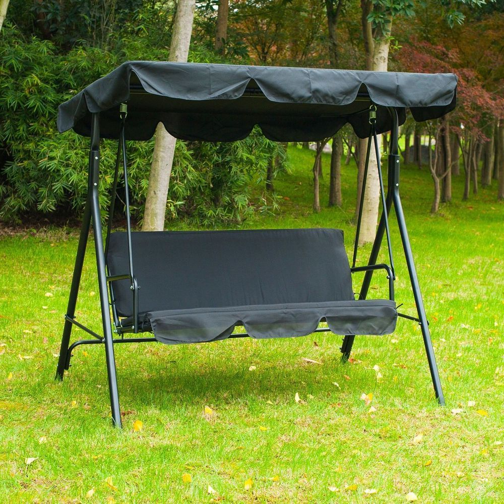 Fashionable 3 Seater Outdoor Canopy Porch Swing Black Colour Steel Frame For 3 Seater Swings With Frame And Canopy (View 25 of 30)
