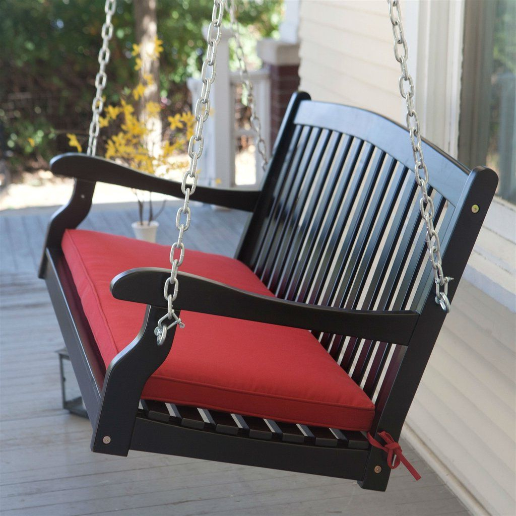 Fashionable A4 Ft Cedar Pergola Swings Regarding Black Wood 4 Ft Porch Swing With Sienna Red Cushion And (Gallery 14 of 30)