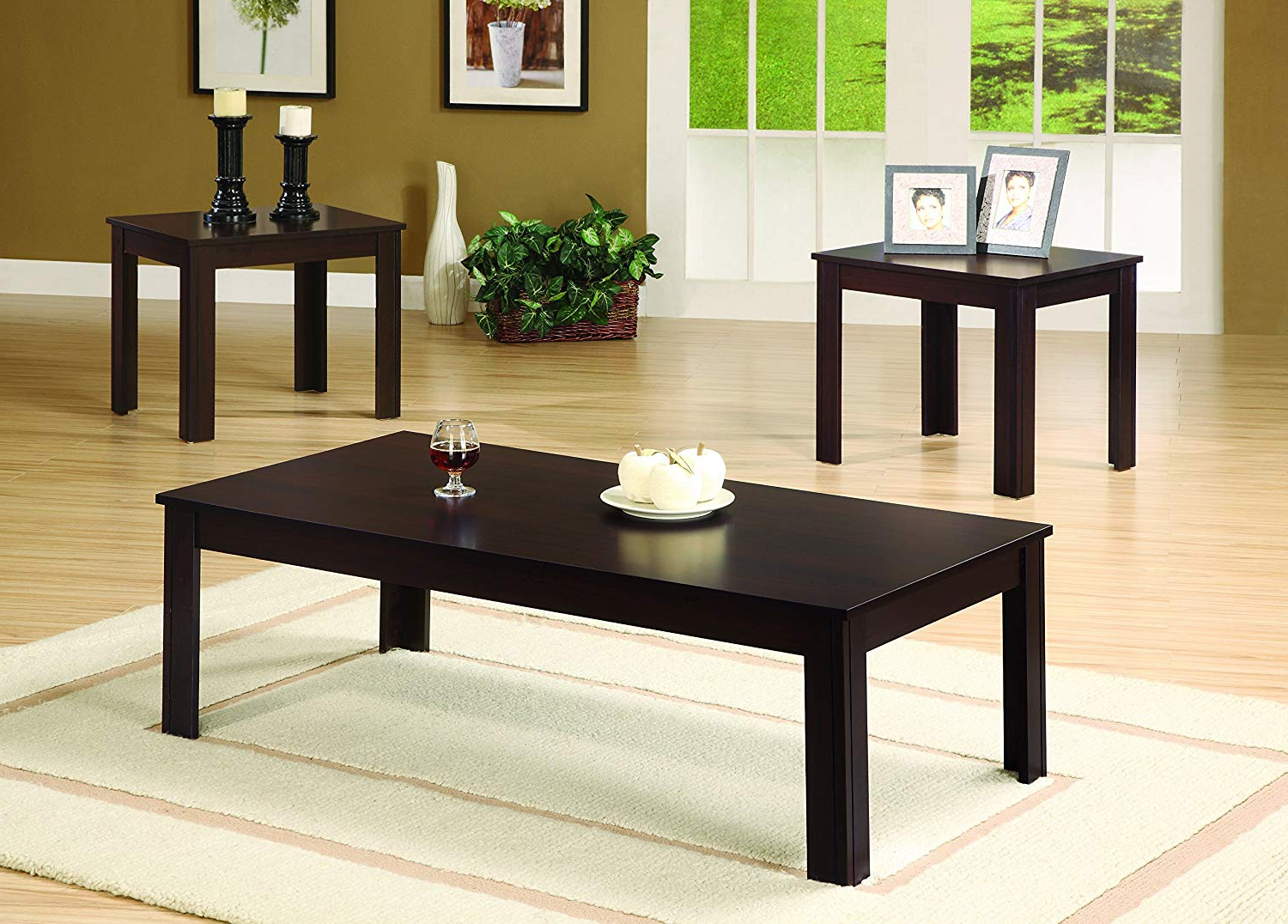 Fashionable Acacia Dining Tables With Black Victor Legs With 3 Piece Occasional Table Set Cappuccino (View 26 of 30)