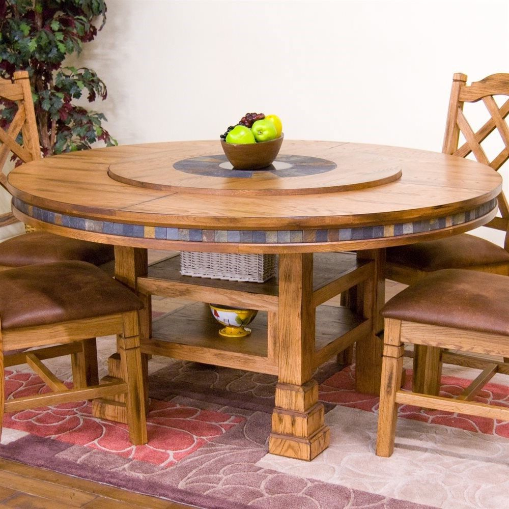 "Fashionable Alamo Transitional 4 Seating Double Drop Leaf Round Casual Dining Tables With Sunny Designs 1225Ro Sedona 60"" Round Table With Lazy Susan (View 17 of 19)"